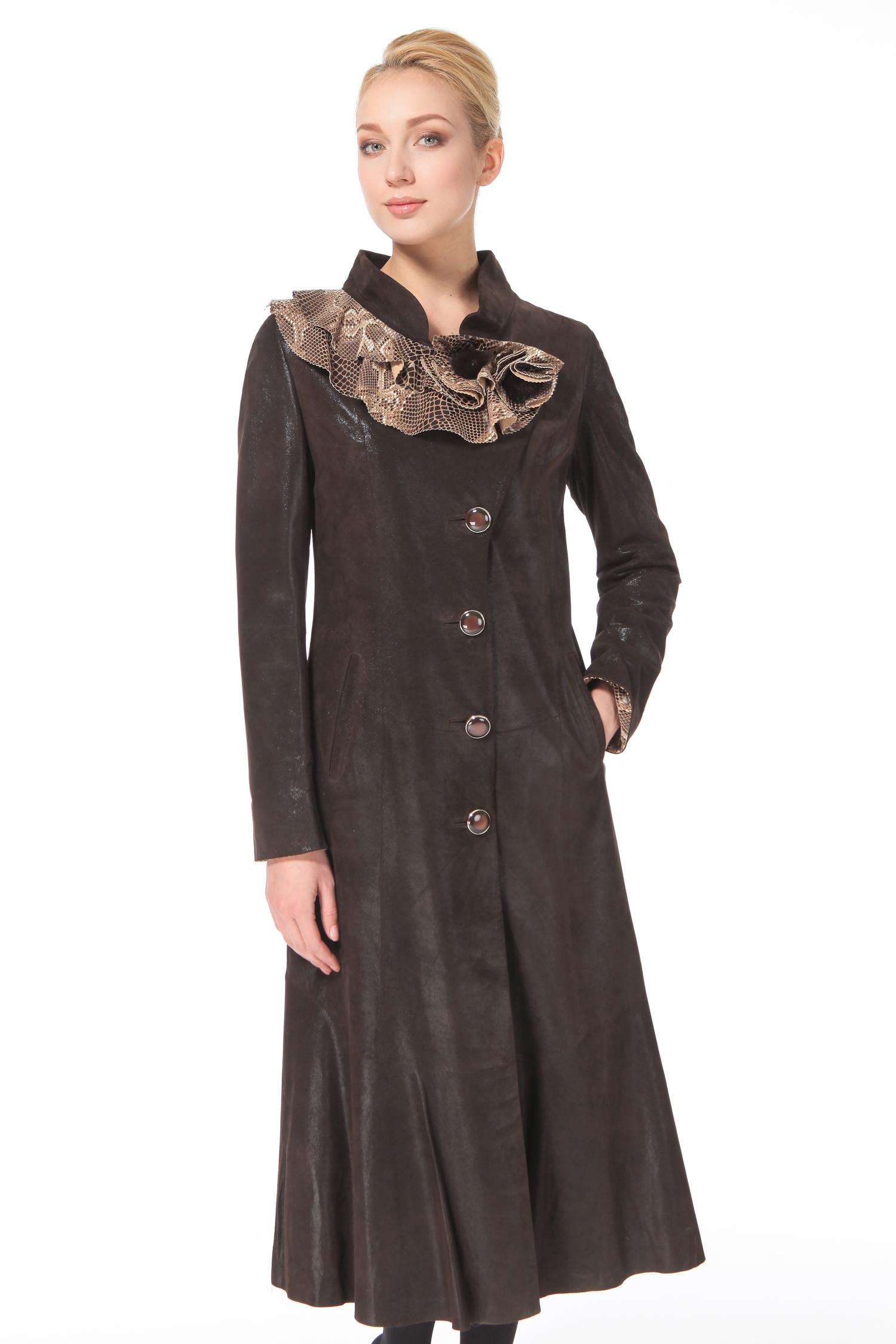 Женское кожаное пальто из натуральной замши (с накатом) с воротником, без отделки