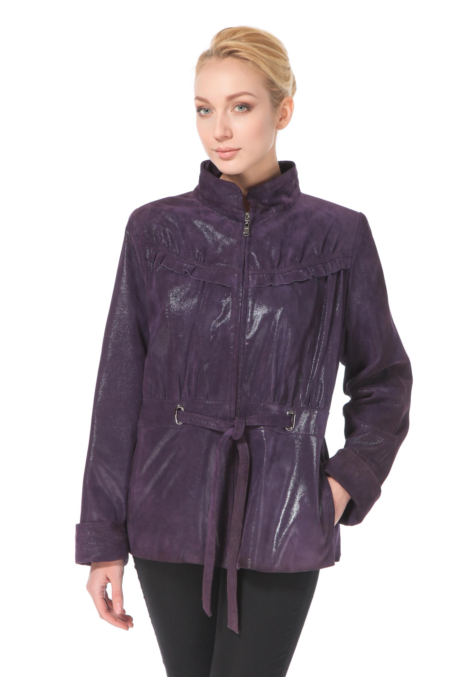 Женская кожаная куртка из натуральной замши с воротником, без отделки<br><br>Длина см: 65<br>Материал: Замша с накатом<br>Цвет: Фиолетовый<br>Пол: Женский