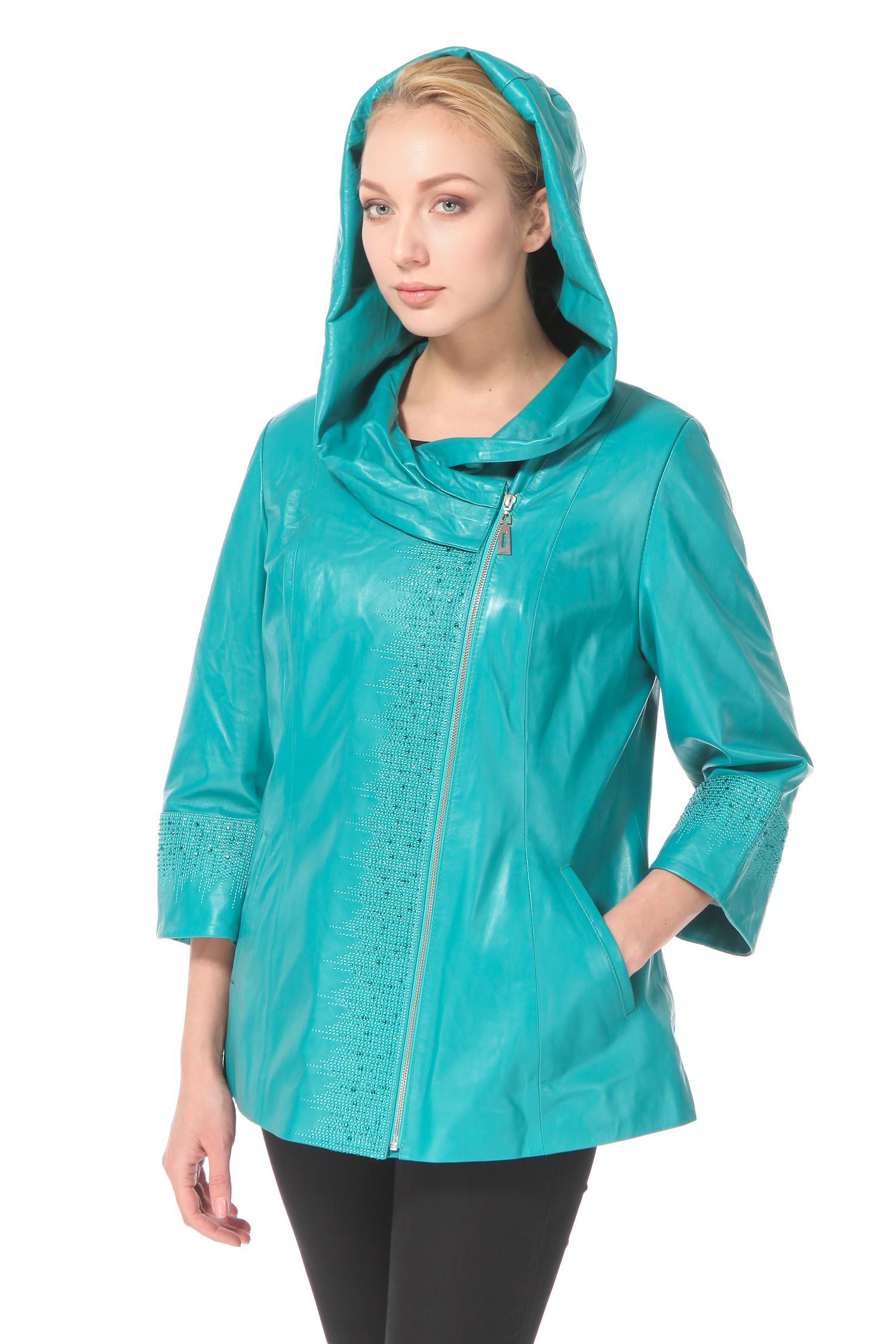 Женская кожаная куртка из натуральной кожи с капюшоном, без отделки<br><br>Воротник: Капюшон<br>Длина см: 70<br>Материал: Натуральная кожа<br>Цвет: Зеленый<br>Пол: Женский