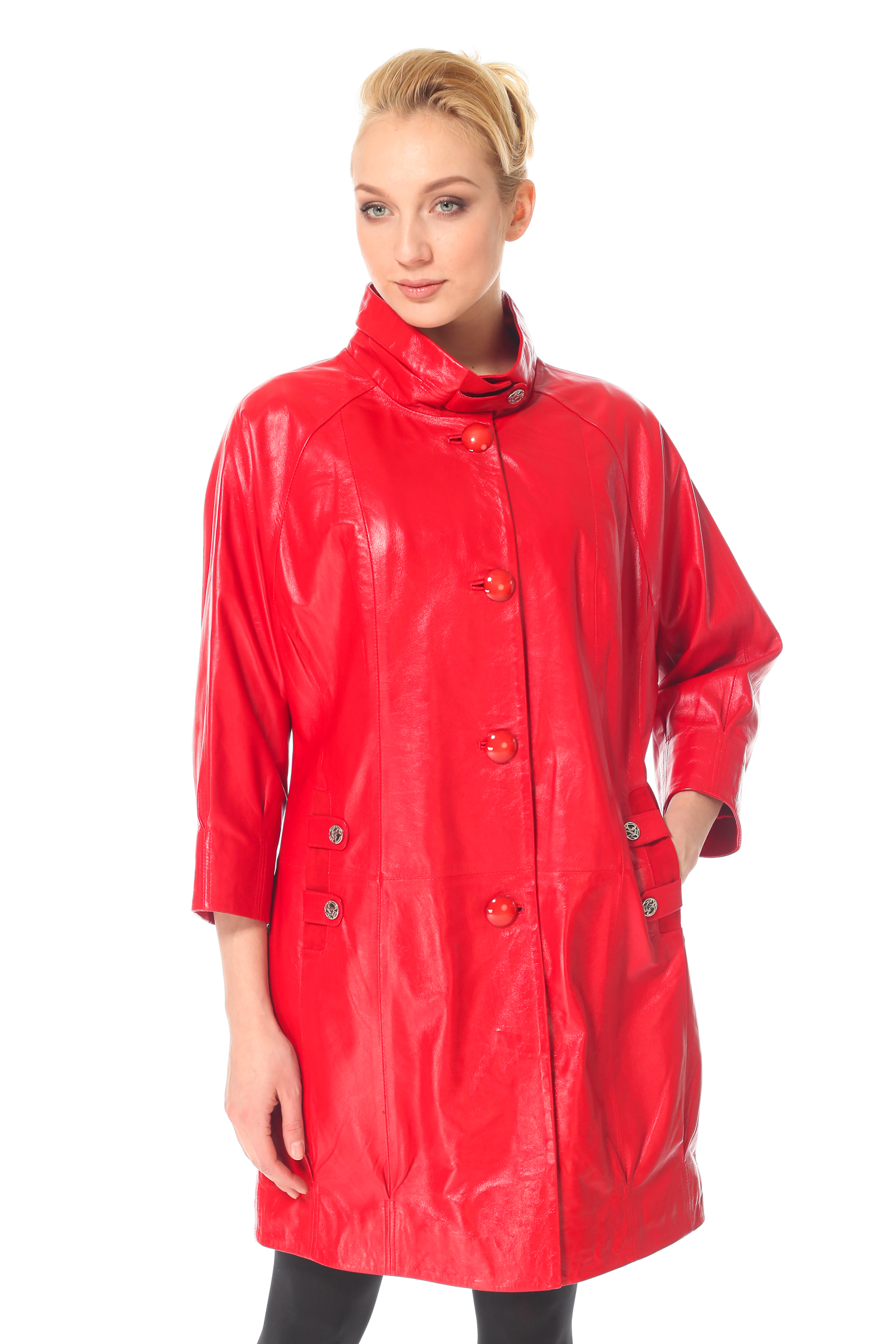 Женское кожаное пальто из натуральной кожи с воротником, без отделки<br><br>Воротник: Стойка<br>Длина см: 90<br>Материал: Натуральная кожа<br>Цвет: Красный<br>Пол: Женский