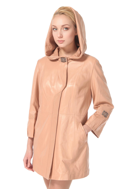 Женское кожаное пальто из натуральной кожи с капюшоном, без отделки<br><br>Воротник: Капюшон<br>Длина см: 80<br>Материал: Натуральная кожа<br>Цвет: Бежевый<br>Пол: Женский