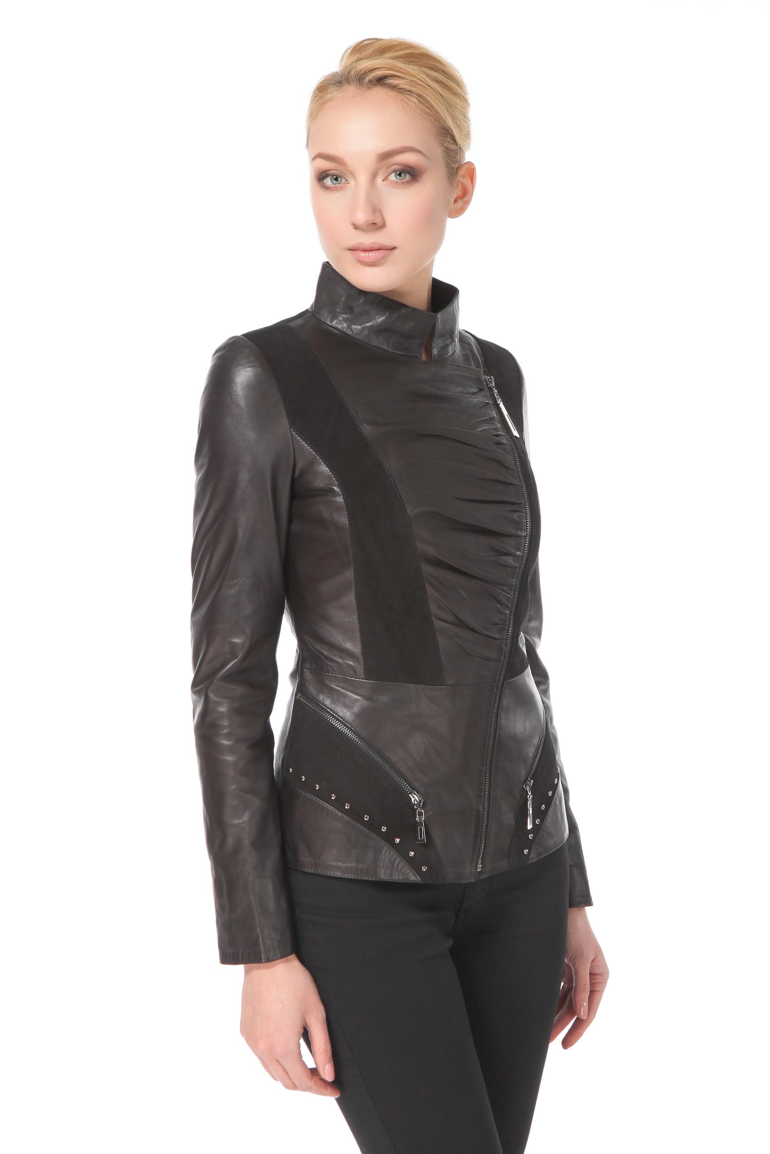 Женская кожаная куртка из натуральной кожи с воротником, отделка замша<br><br>Воротник: Стойка<br>Длина см: 60<br>Материал: Плонже/замша<br>Цвет: Черный<br>Пол: Женский