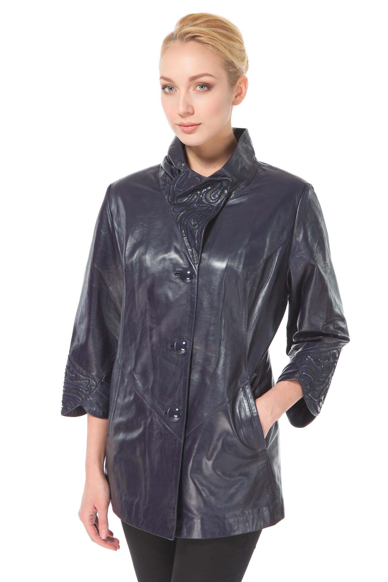 Женская кожаная куртка из натуральной кожи с воротником, без отделки<br><br>Воротник: Стойка<br>Длина см: 70<br>Материал: Натуральная кожа<br>Цвет: Фиолетовый<br>Пол: Женский