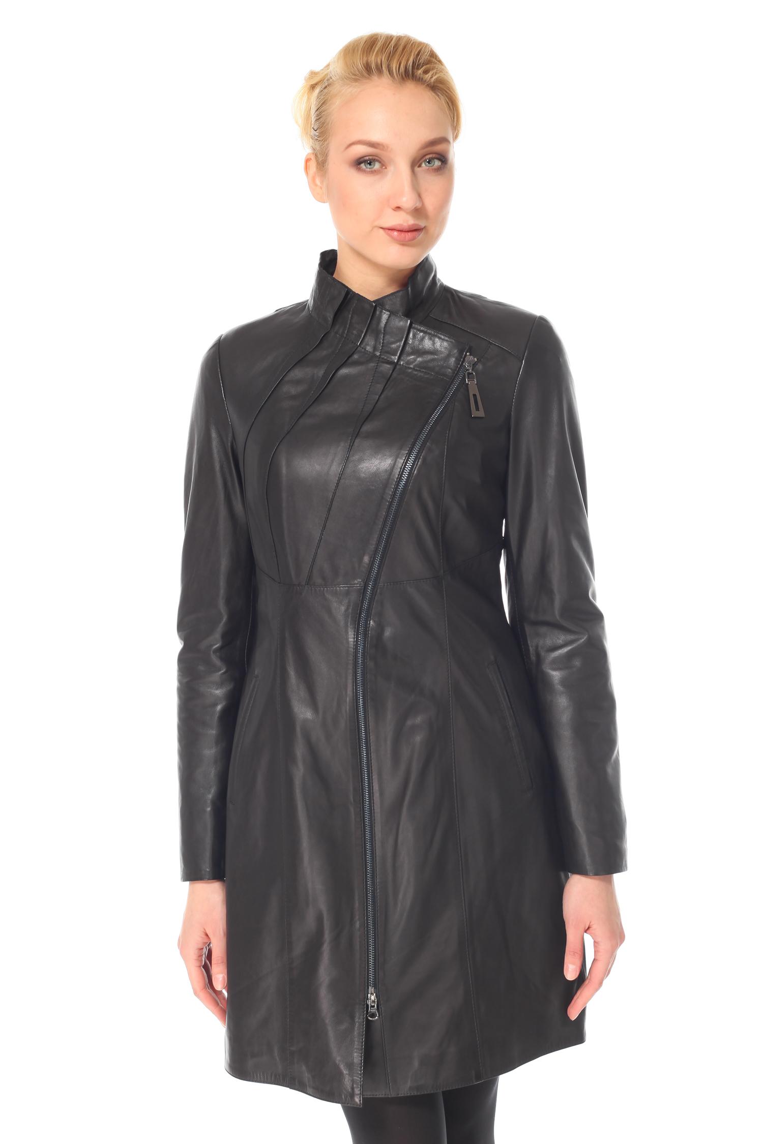 Женское кожаное пальто из натуральной кожи с воротником, без отделки<br><br>Воротник: Стойка<br>Длина см: 90<br>Материал: Натуральная кожа<br>Цвет: Черный<br>Пол: Женский