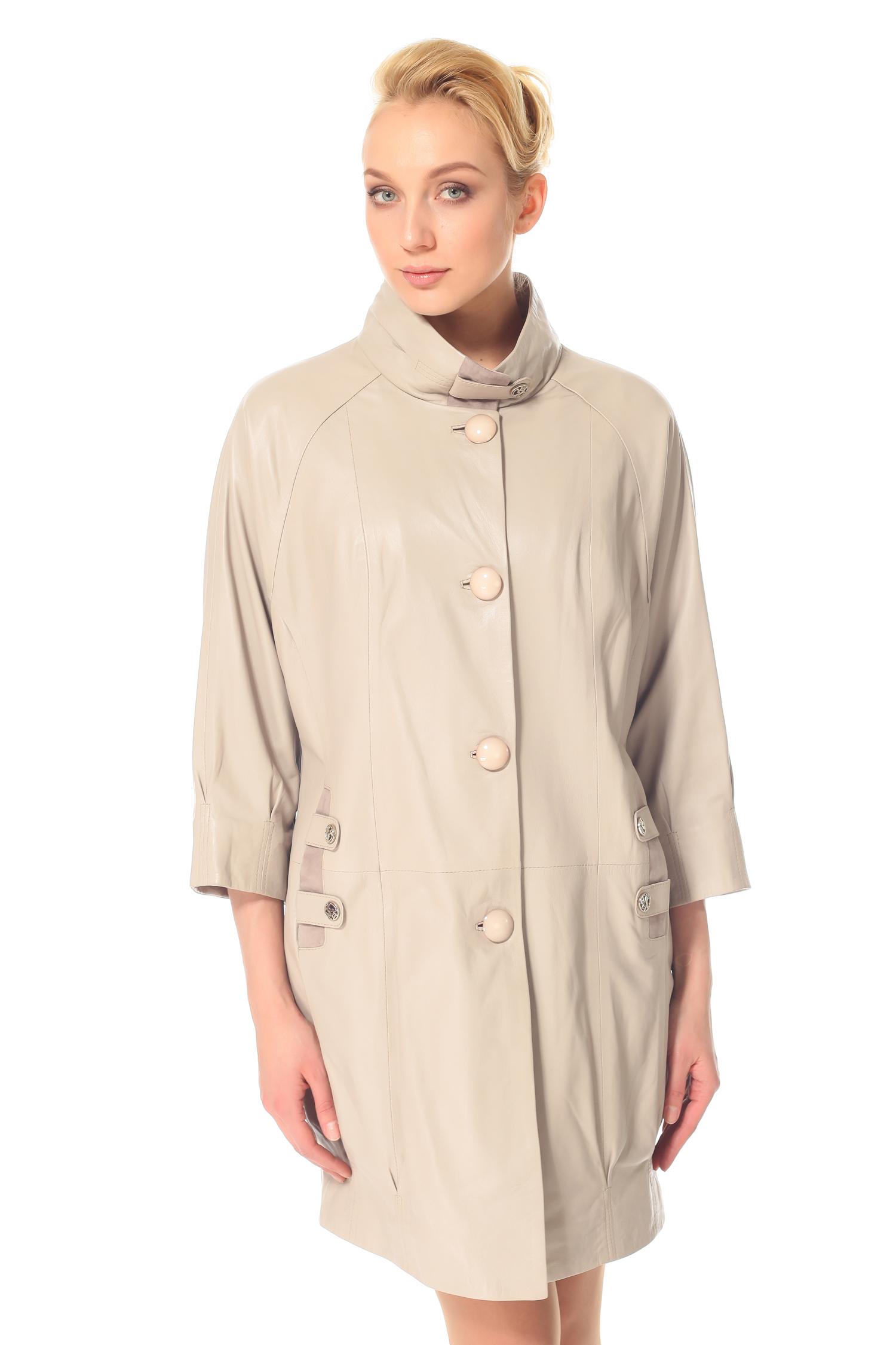 Женское кожаное пальто из натуральной кожи с воротником, без отделки<br><br>Воротник: Стойка<br>Длина см: 90<br>Материал: Натуральная кожа<br>Цвет: Серый<br>Пол: Женский