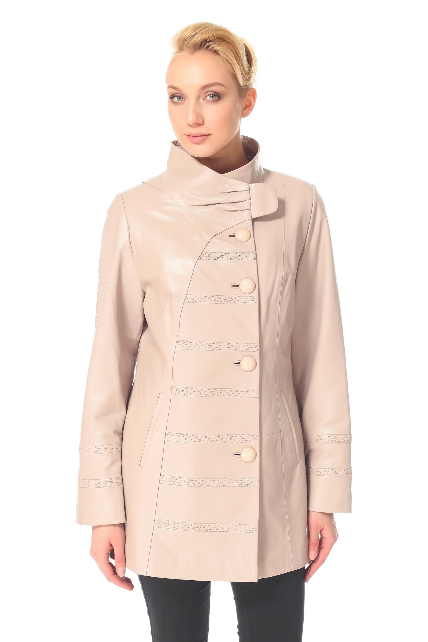 Женское кожаное пальто из натуральной кожи с воротником, без отделки<br><br>Воротник: Стойка<br>Длина см: 80<br>Материал: Натуральная кожа<br>Цвет: Бежевый<br>Пол: Женский