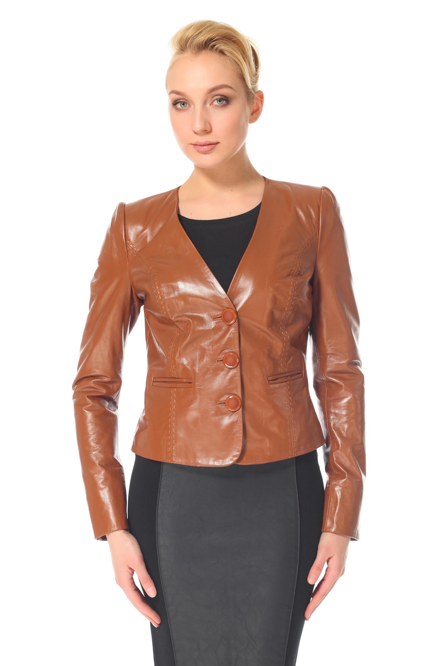 Женская кожаная куртка из натуральной кожи с воротником, без отделки<br><br>Воротник: Шаль<br>Длина см: 50<br>Материал: Натуральная кожа<br>Цвет: Коричневый<br>Пол: Женский