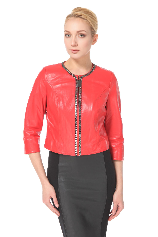 Женская кожаная куртка из натуральной кожи с воротником, без отделки<br><br>Воротник: Шанель<br>Длина см: 45<br>Материал: Натуральная кожа<br>Цвет: Коралл<br>Пол: Женский