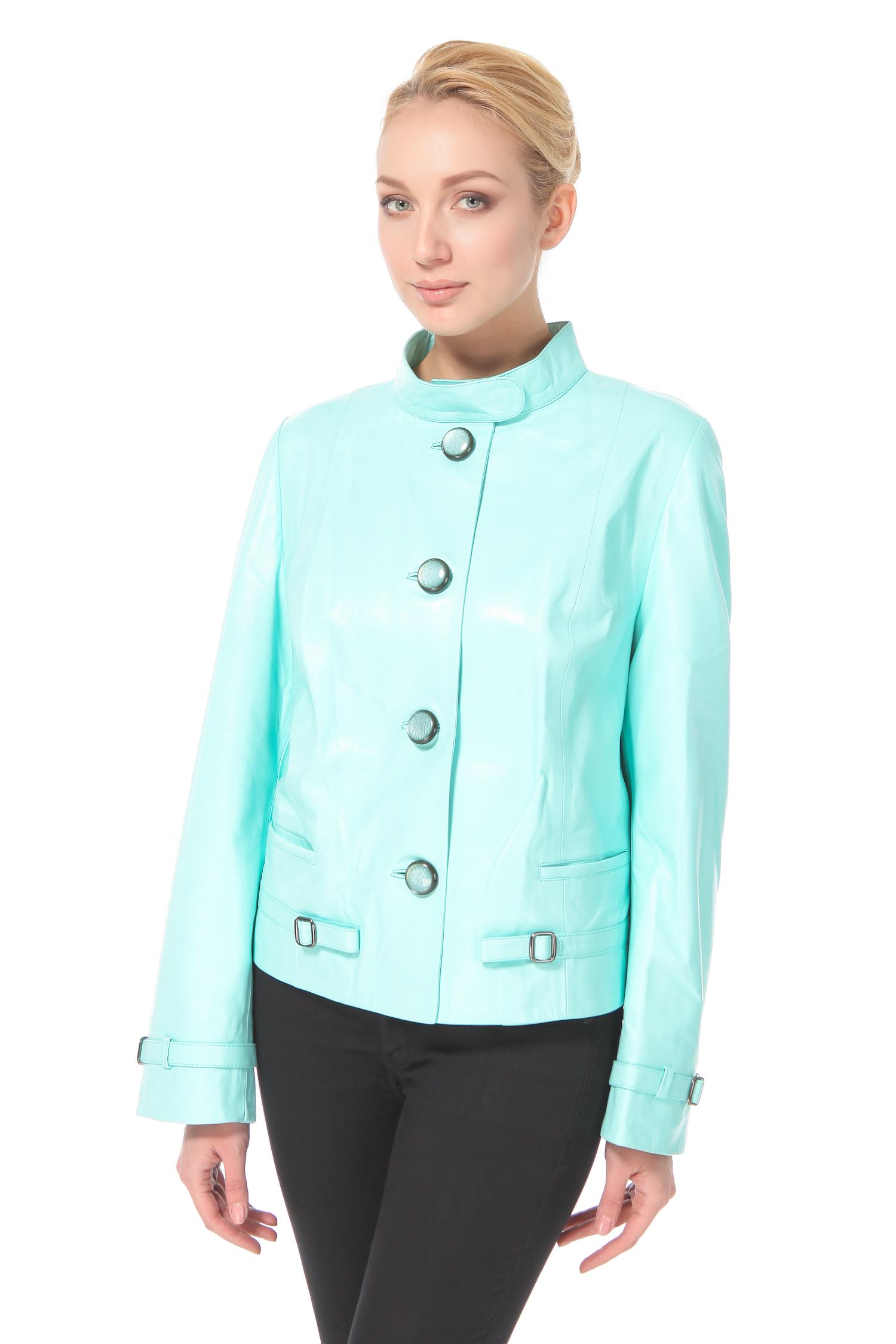 Женская кожаная куртка из натуральной кожи с воротником, без отделки<br><br>Воротник: стойка<br>Длина см: Короткая (51-74 )<br>Материал: Кожа овчина<br>Цвет: бирюзовый<br>Застежка: на пуговицы<br>Пол: Женский<br>Размер RU: 64
