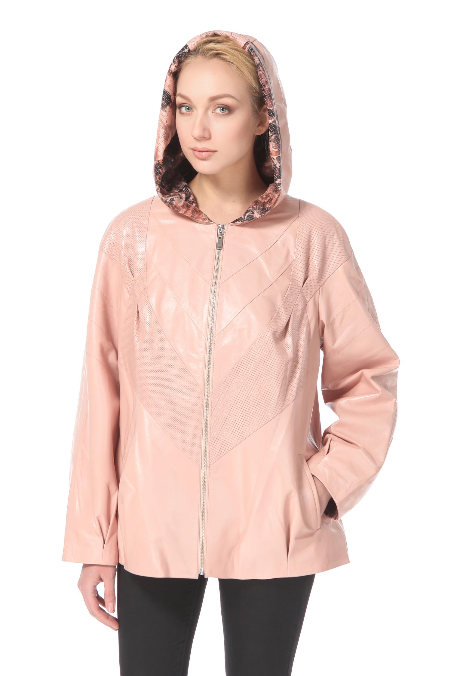 Женская кожаная куртка из натуральной кожи с капюшоном, без отделки<br><br>Воротник: капюшон<br>Длина см: Короткая (51-74 )<br>Материал: Кожа овчина<br>Цвет: розовый<br>Застежка: на молнии<br>Пол: Женский<br>Размер RU: 56