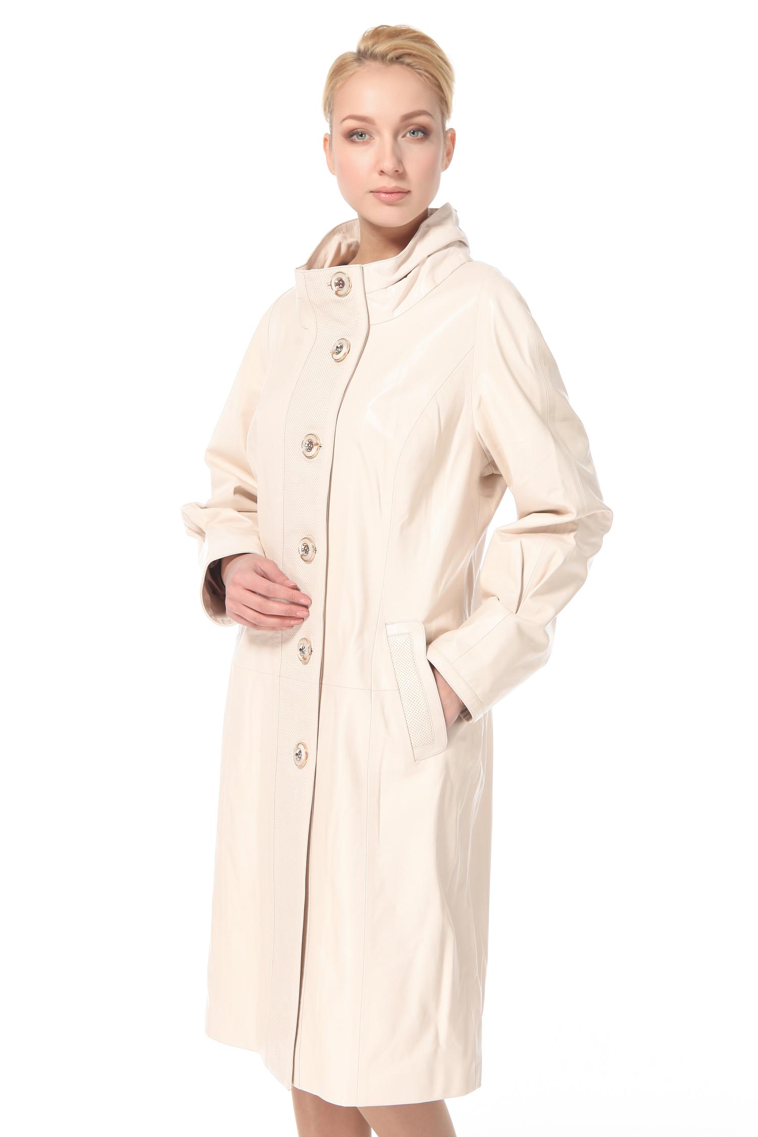 Женское кожаное пальто из натуральной кожи с воротником, без отделки<br><br>Цвет: бежевый<br>Длина см: Длинная (свыше 90)<br>Материал: Кожа овчина<br>Воротник: стойка<br>Пол: Женский<br>Размер RU: 56