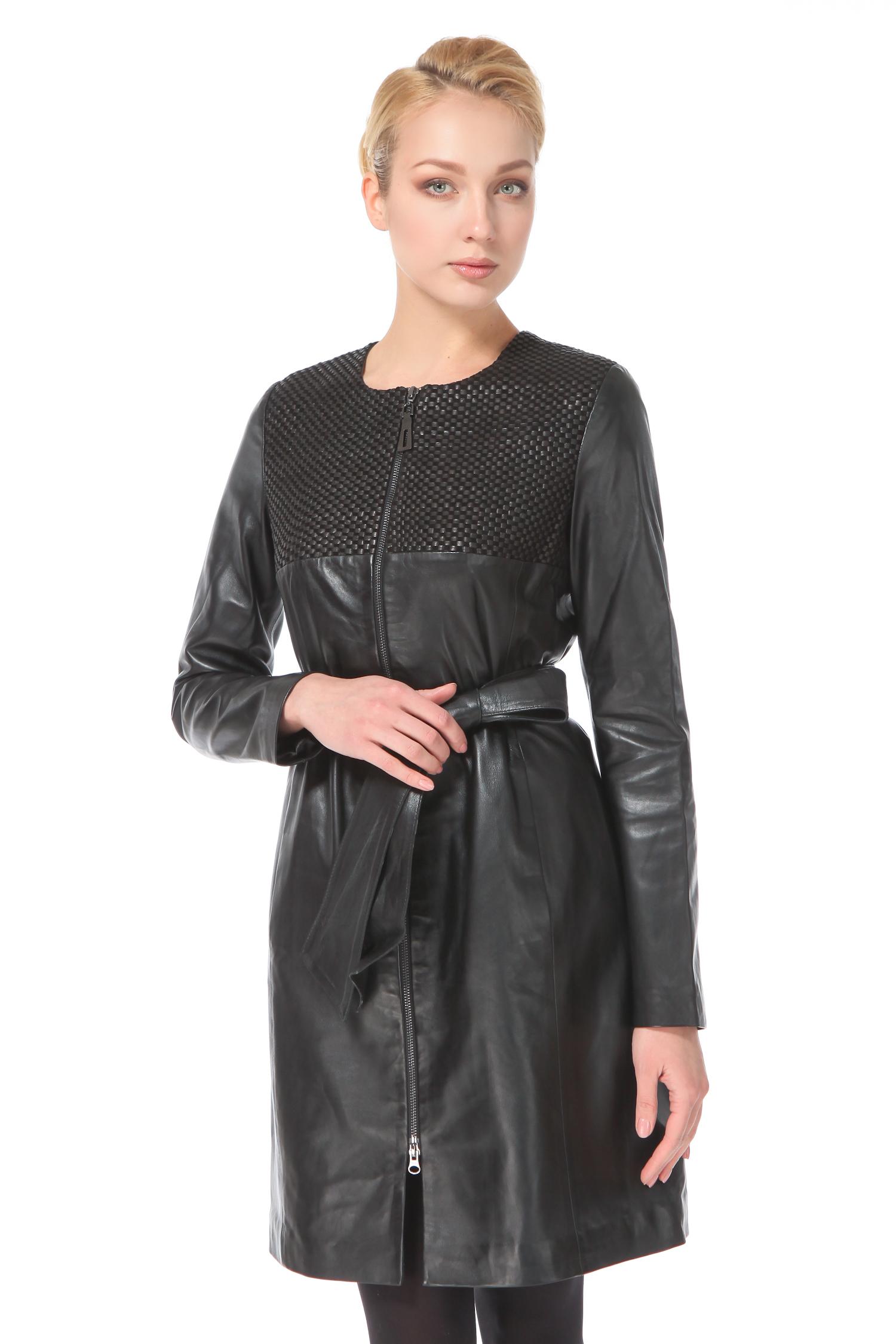 Женское кожаное пальто из натуральной кожи с воротником, без отделки<br><br>Длина см: Длинная (свыше 90)<br>Материал: Кожа овчина<br>Цвет: черный<br>Пол: Женский<br>Размер RU: 50