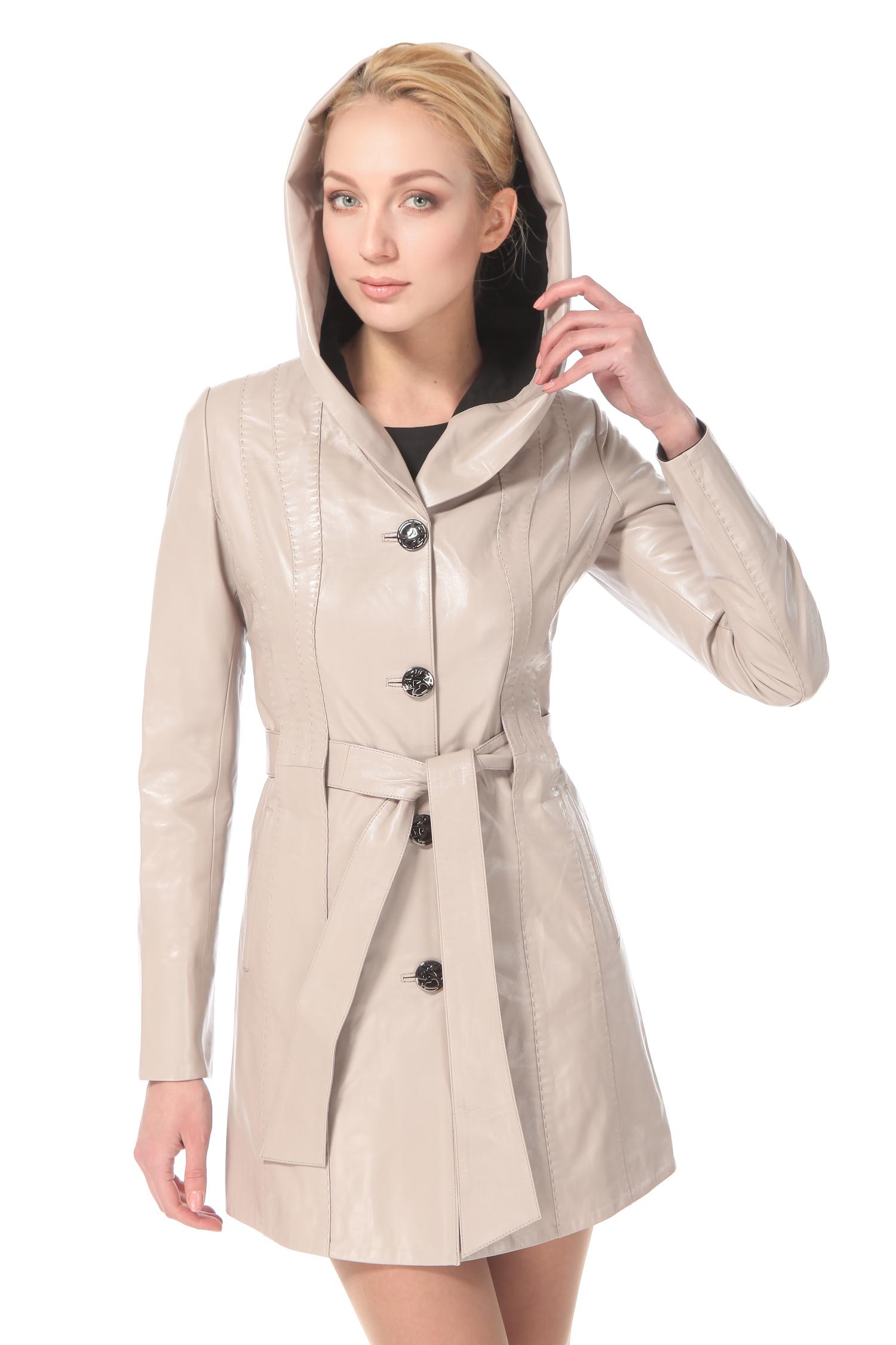 Женское кожаное пальто из натуральной кожи с капюшоном, без отделки от Московская Меховая Компания