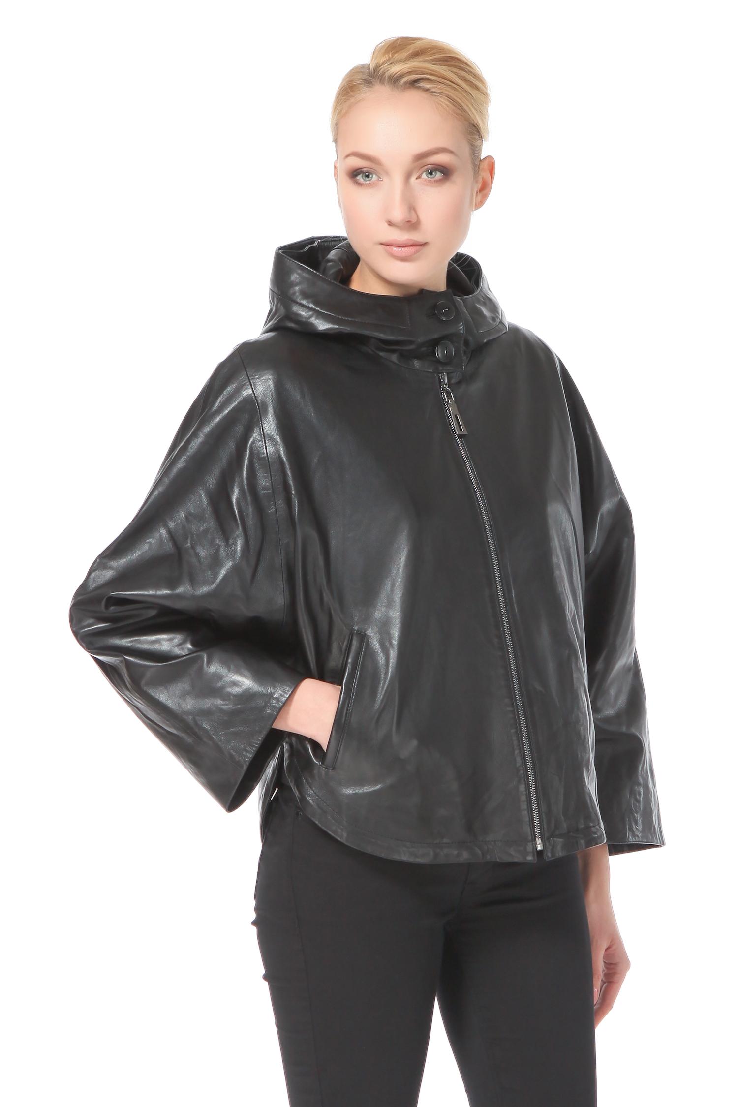 Женская кожаная куртка из натуральной кожи с капюшоном, отделка песец<br><br>Воротник: капюшон<br>Длина см: Короткая (51-74 )<br>Материал: Кожа овчина<br>Цвет: черный<br>Пол: Женский<br>Размер RU: 46