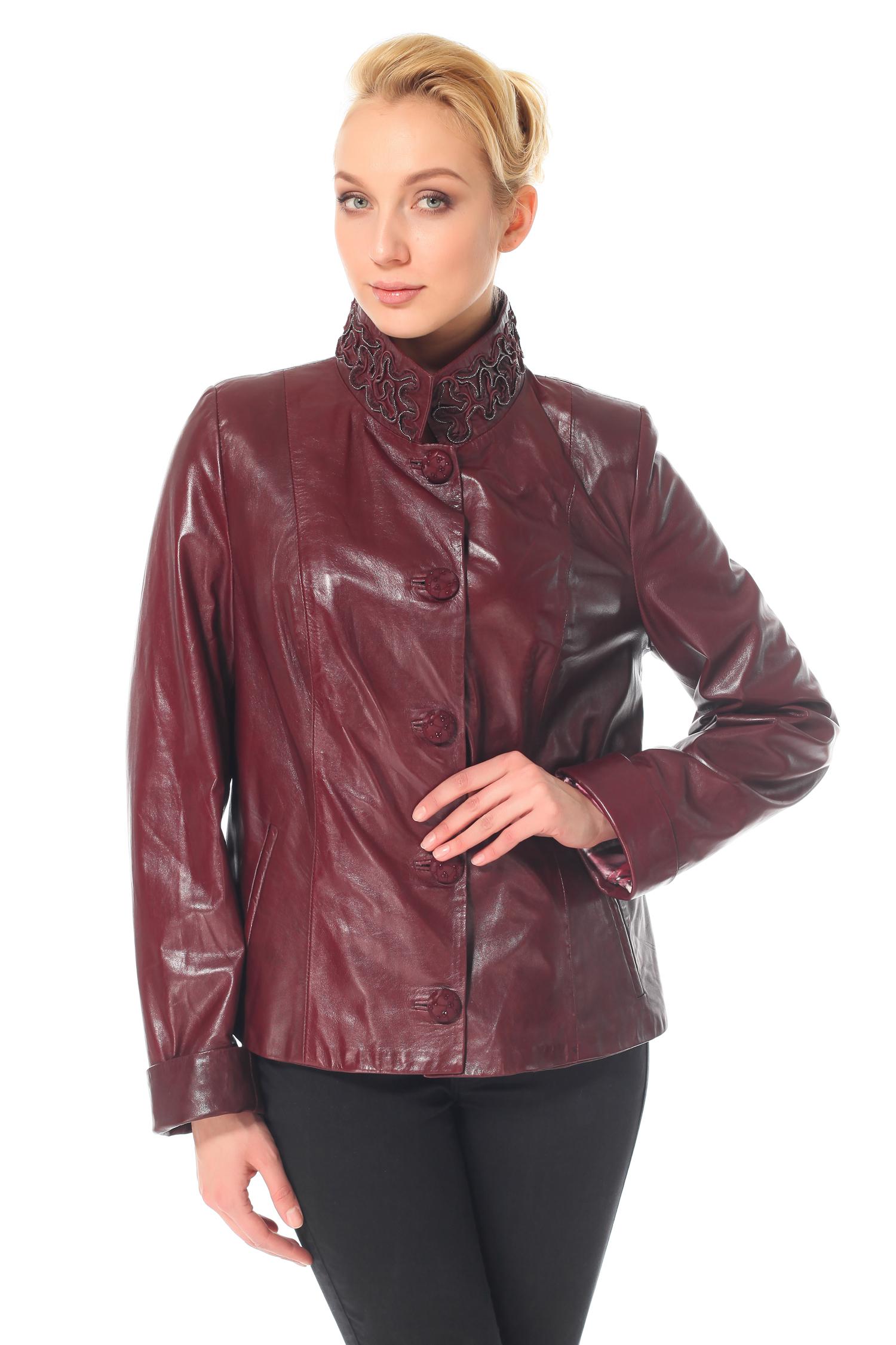 Женская кожаная куртка из натуральной кожи с воротником, без отделки<br><br>Воротник: Стойка<br>Длина см: 60<br>Материал: Натуральная кожа<br>Цвет: Бордовый<br>Пол: Женский