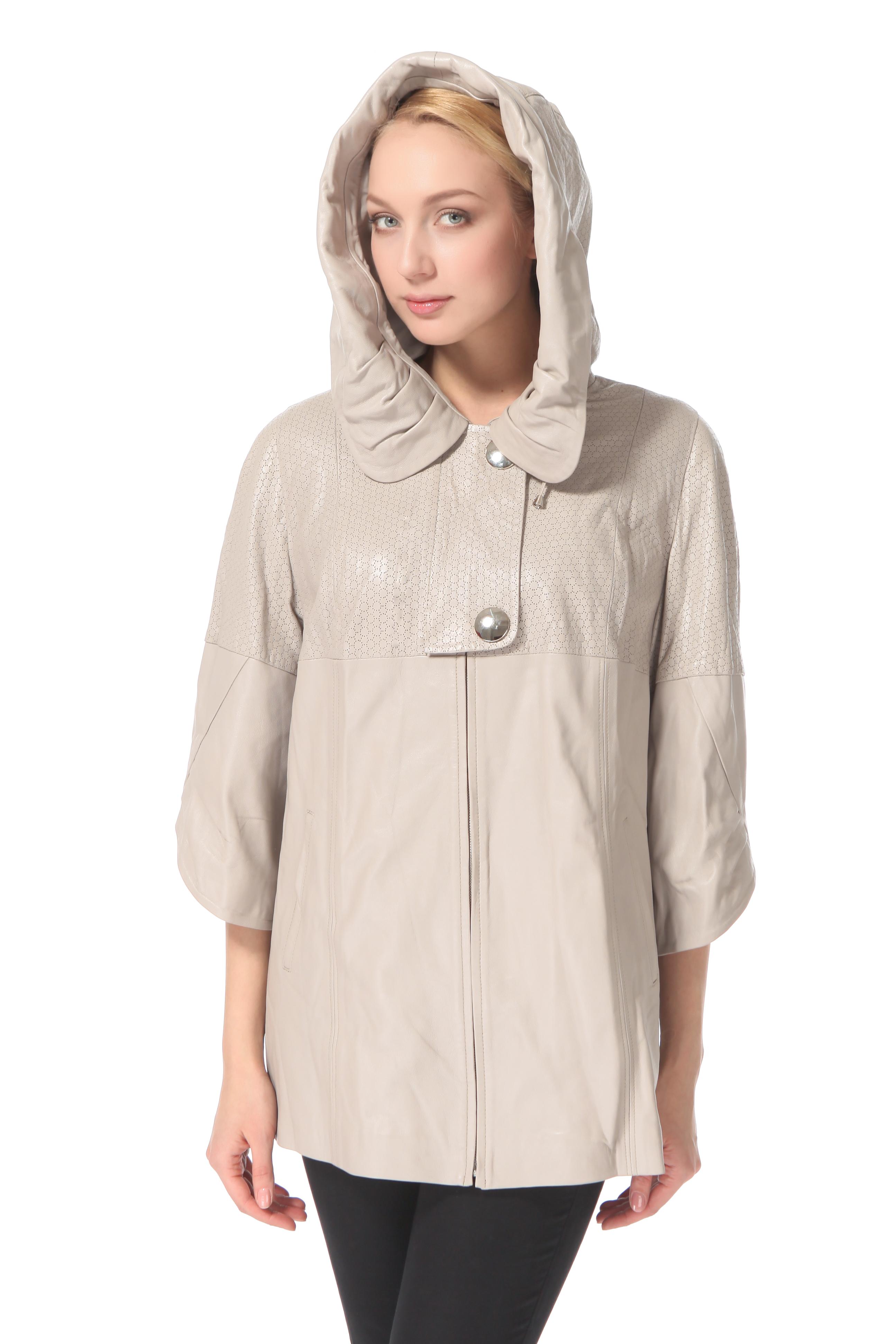 Женская кожаная куртка из натуральной кожи с капюшоном, без отделки<br><br>Воротник: Капюшон<br>Длина см: 75<br>Материал: Плонже/перфорация<br>Цвет: Бежевый<br>Пол: Женский