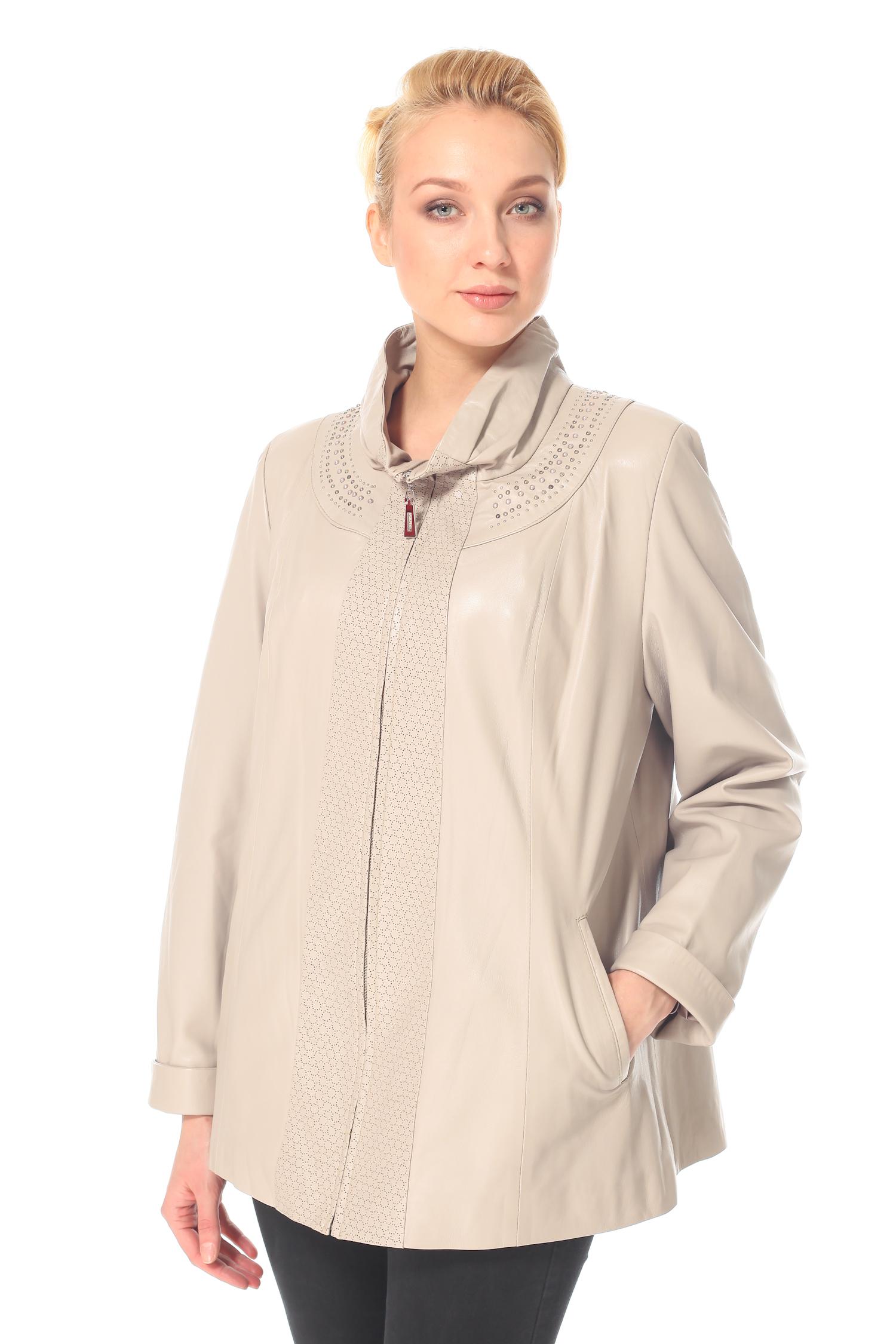 Женская кожаная куртка из натуральной кожи с воротником, без отделки<br><br>Воротник: Стойка<br>Длина см: 65<br>Материал: Натуральная кожа<br>Цвет: Серый<br>Пол: Женский