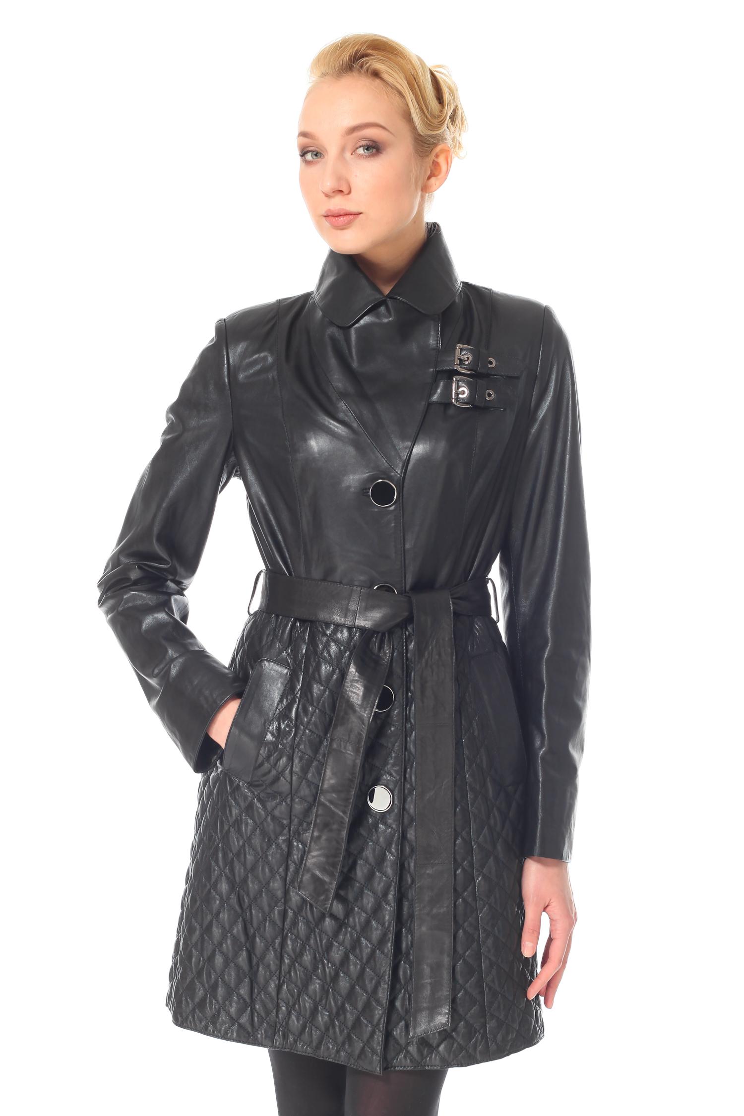 Женское кожаное пальто из натуральной кожи с воротником, без отделки<br><br>Воротник: Английский<br>Длина см: 90<br>Материал: Натуральная кожа<br>Цвет: Черный<br>Застежка: Синтепон<br>Пол: Женский