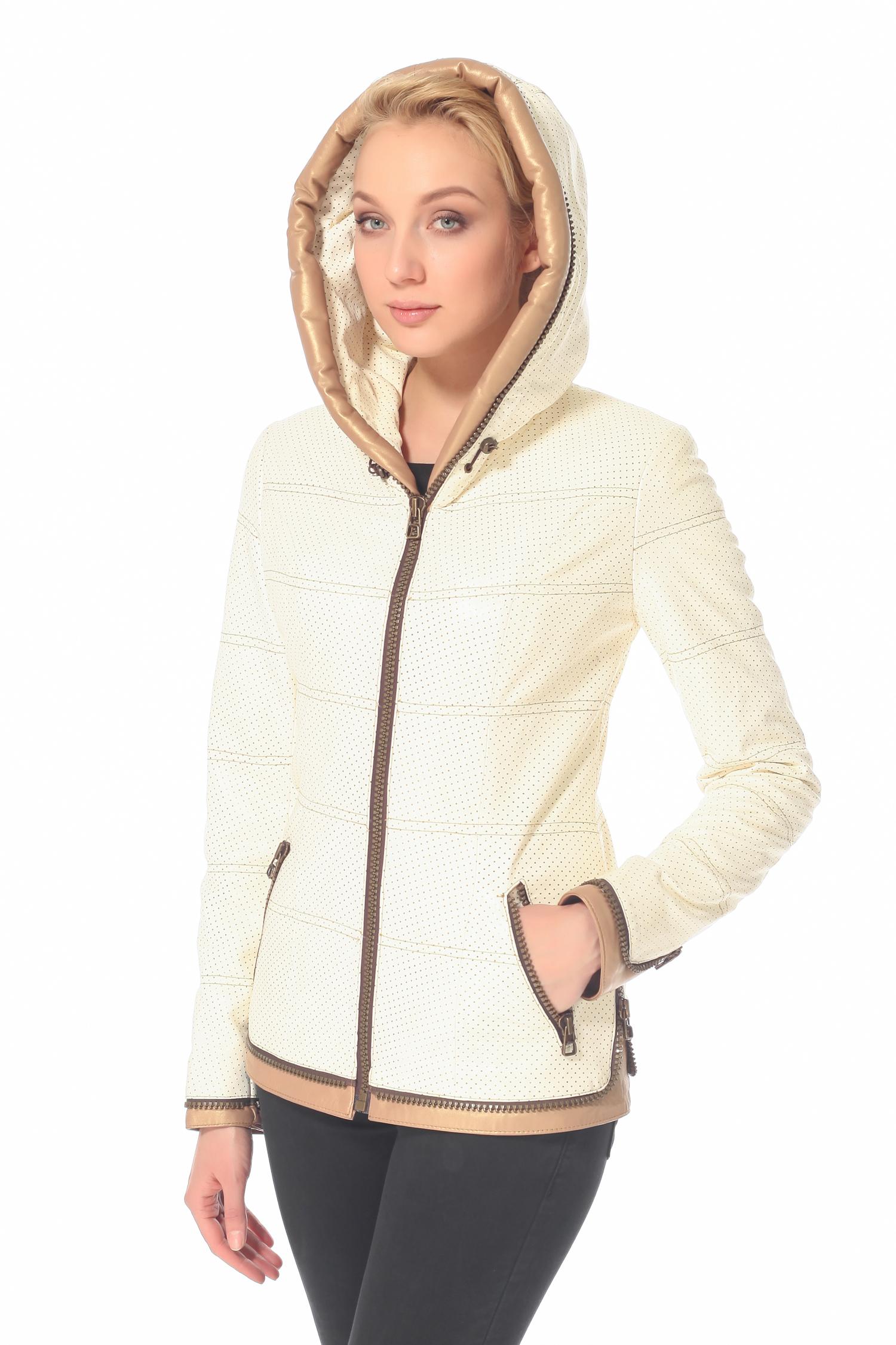 Женская кожаная куртка из натуральной кожи с капюшоном, без отделки<br><br>Воротник: Капюшон<br>Длина см: 60<br>Материал: Плонже/перфорация<br>Цвет: Бежевый<br>Пол: Женский