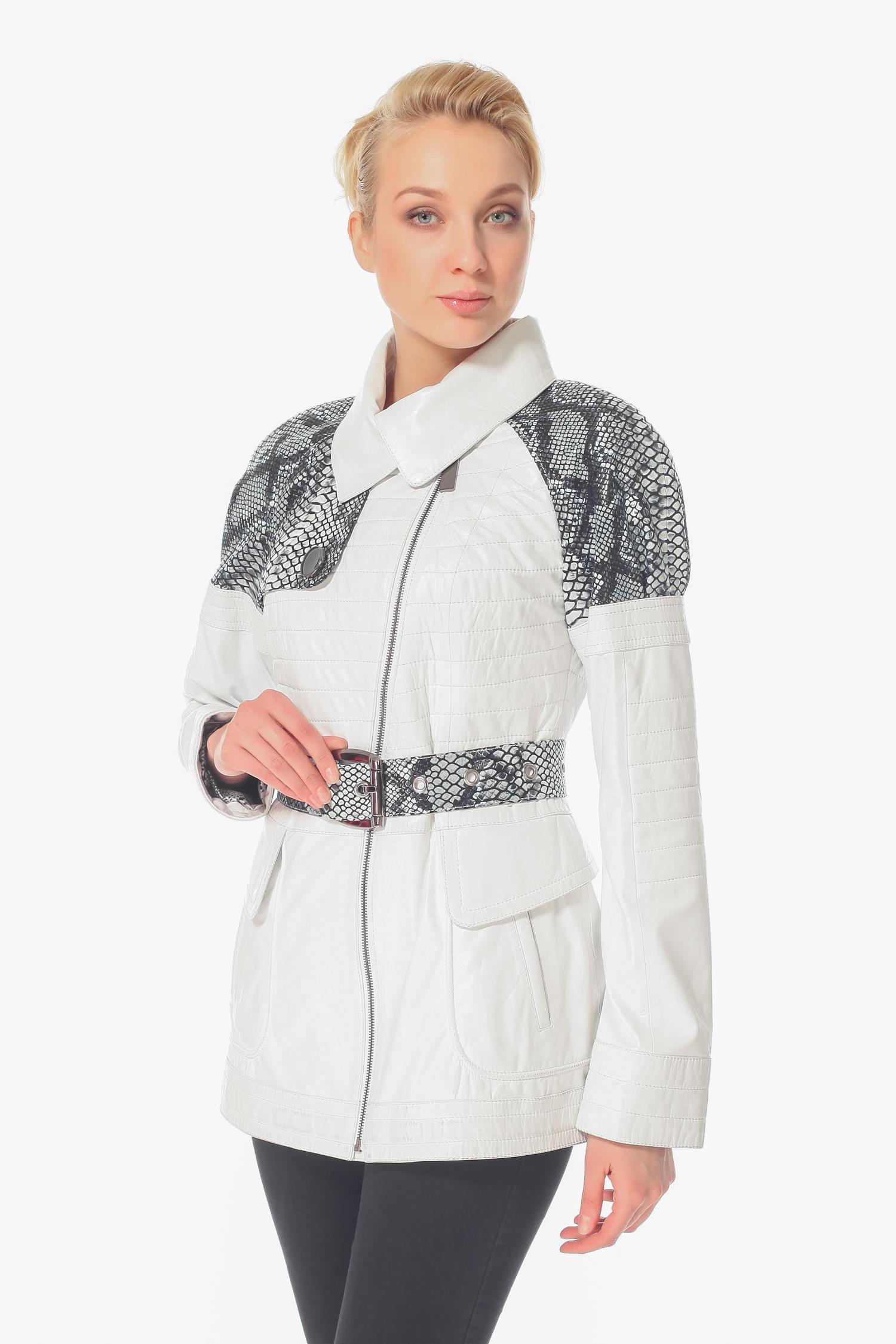 Женская кожаная куртка из натуральной кожи с воротником, без отделки<br><br>Воротник: Обычный<br>Длина см: 70<br>Материал: Натуральная кожа<br>Цвет: Белый<br>Пол: Женский