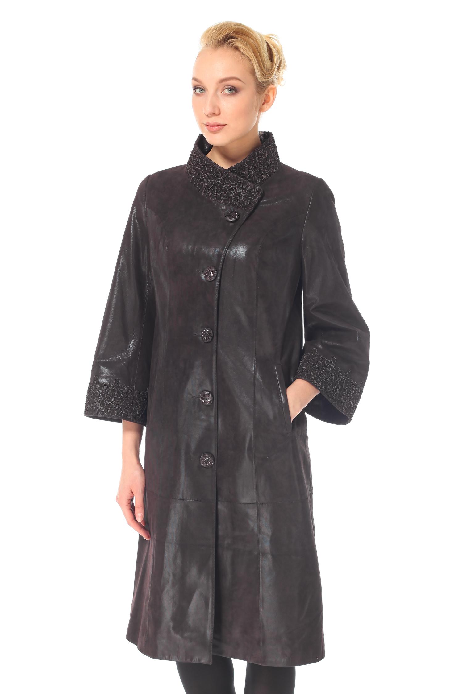Женское кожаное пальто из натуральной замши (с накатом) с воротником, без отделки<br><br>Воротник: стойка<br>Длина см: Длинная (свыше 90)<br>Материал: Замша<br>Цвет: фиолетовый<br>Пол: Женский<br>Размер RU: 52