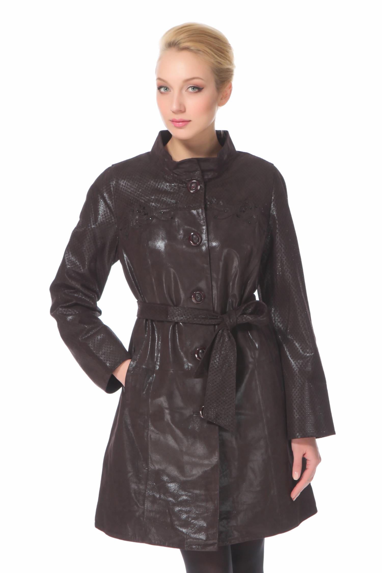 Женское кожаное пальто из натуральной замши (с накатом) с воротником, отделка кролик