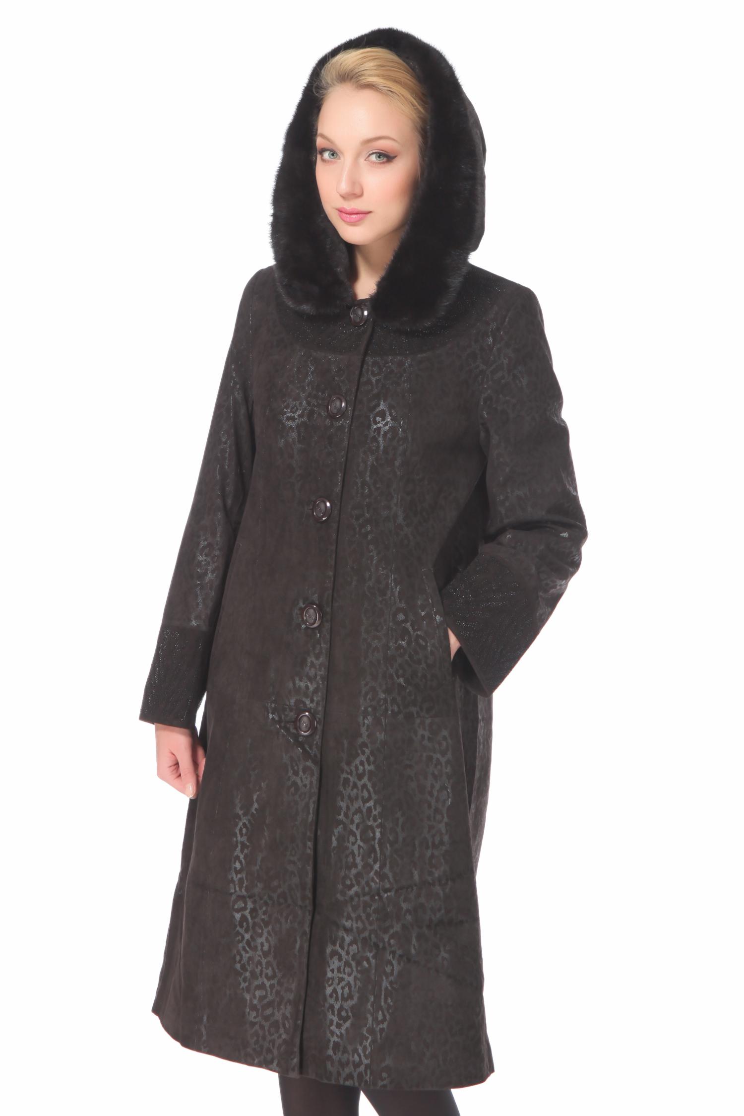 Женское кожаное пальто из натуральной замши (с накатом) с капюшоном, отделка норка<br><br>Воротник: капюшон<br>Длина см: Длинная (свыше 90)<br>Материал: Замша<br>Цвет: коричневый<br>Пол: Женский<br>Размер RU: 54