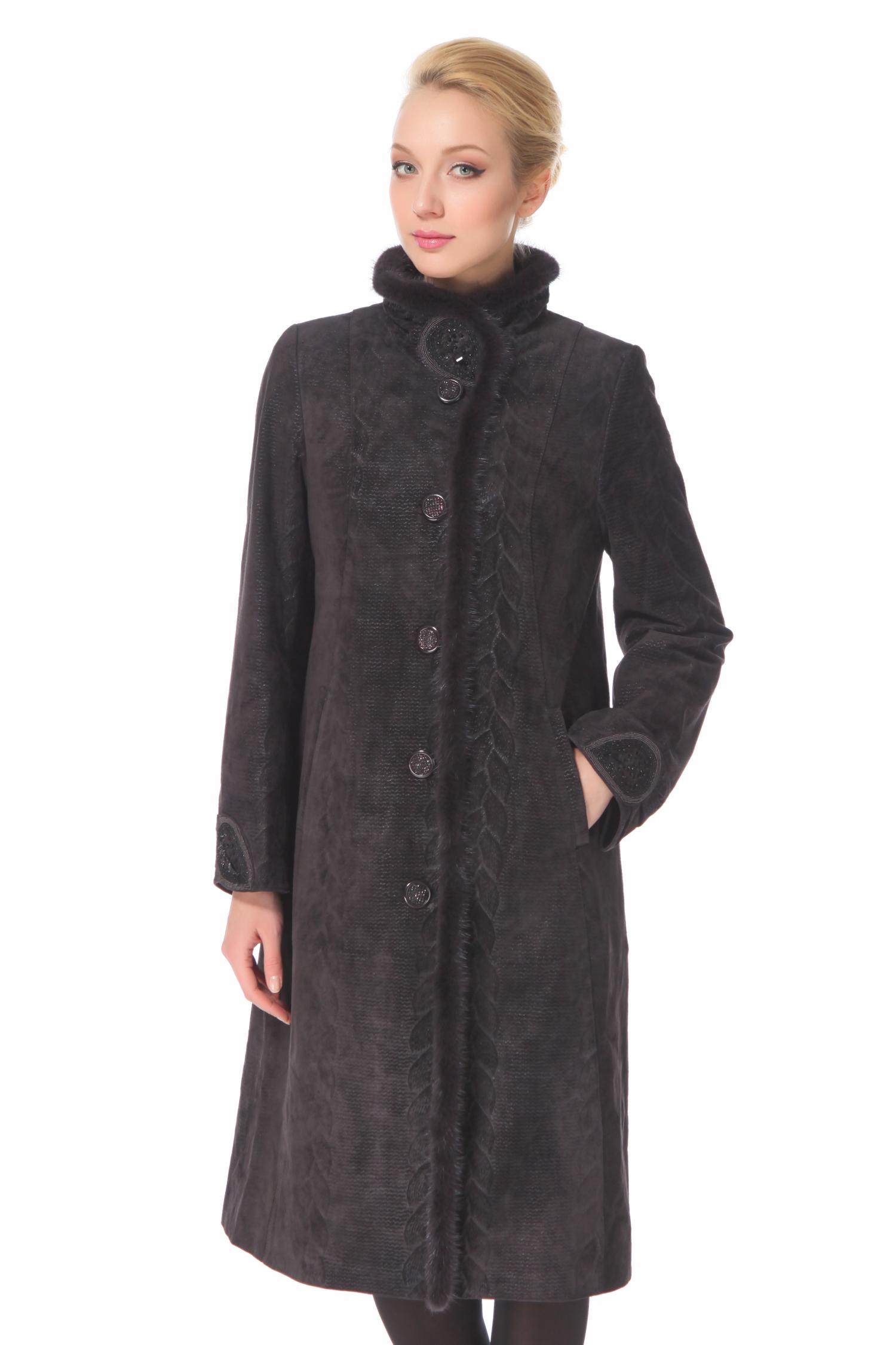 Женское кожаное пальто из натуральной замши (с накатом) с воротником, отделка норка
