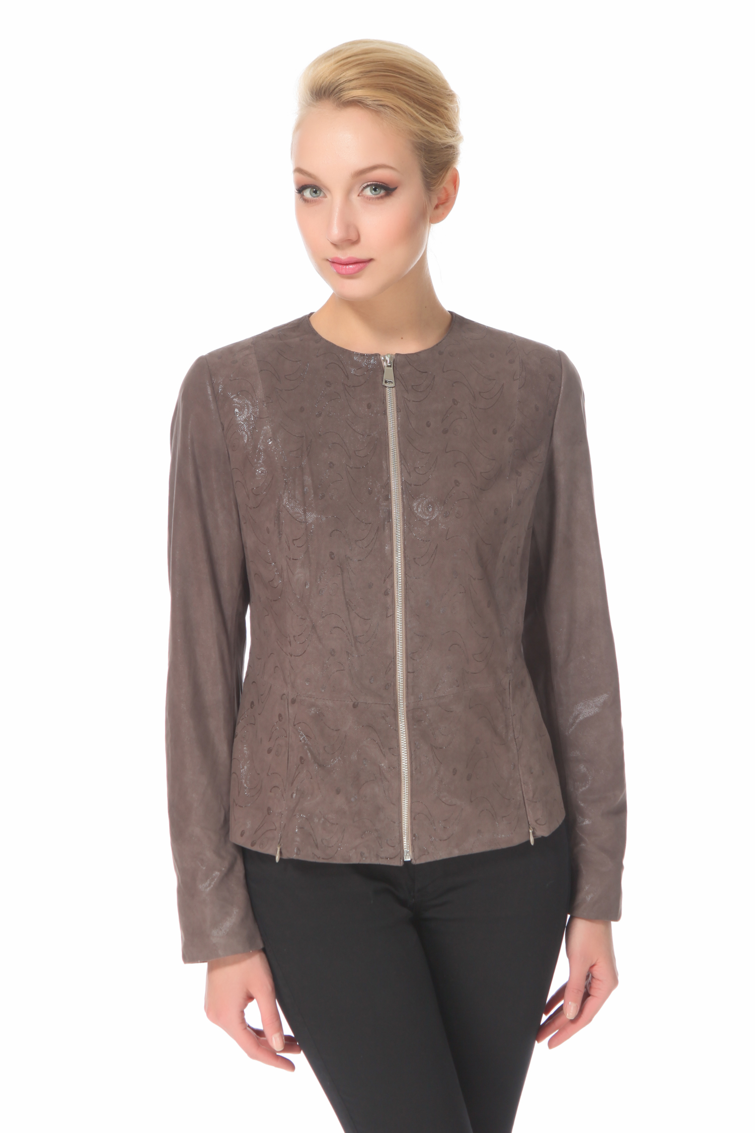 Женская кожаная куртка из натуральной замши, без отделки<br><br>Длина см: Короткая (51-74 )<br>Материал: Замша<br>Цвет: серый<br>Пол: Женский<br>Размер RU: 52