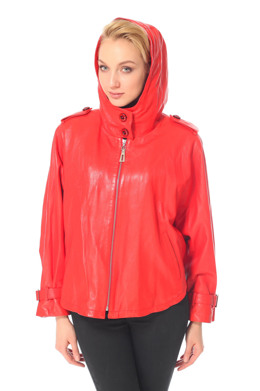Женская кожаная куртка из натуральной кожи с капюшоном, без отделки<br><br>Воротник: Капюшон<br>Длина см: 60<br>Материал: Натуральная кожа<br>Цвет: Красный<br>Пол: Женский
