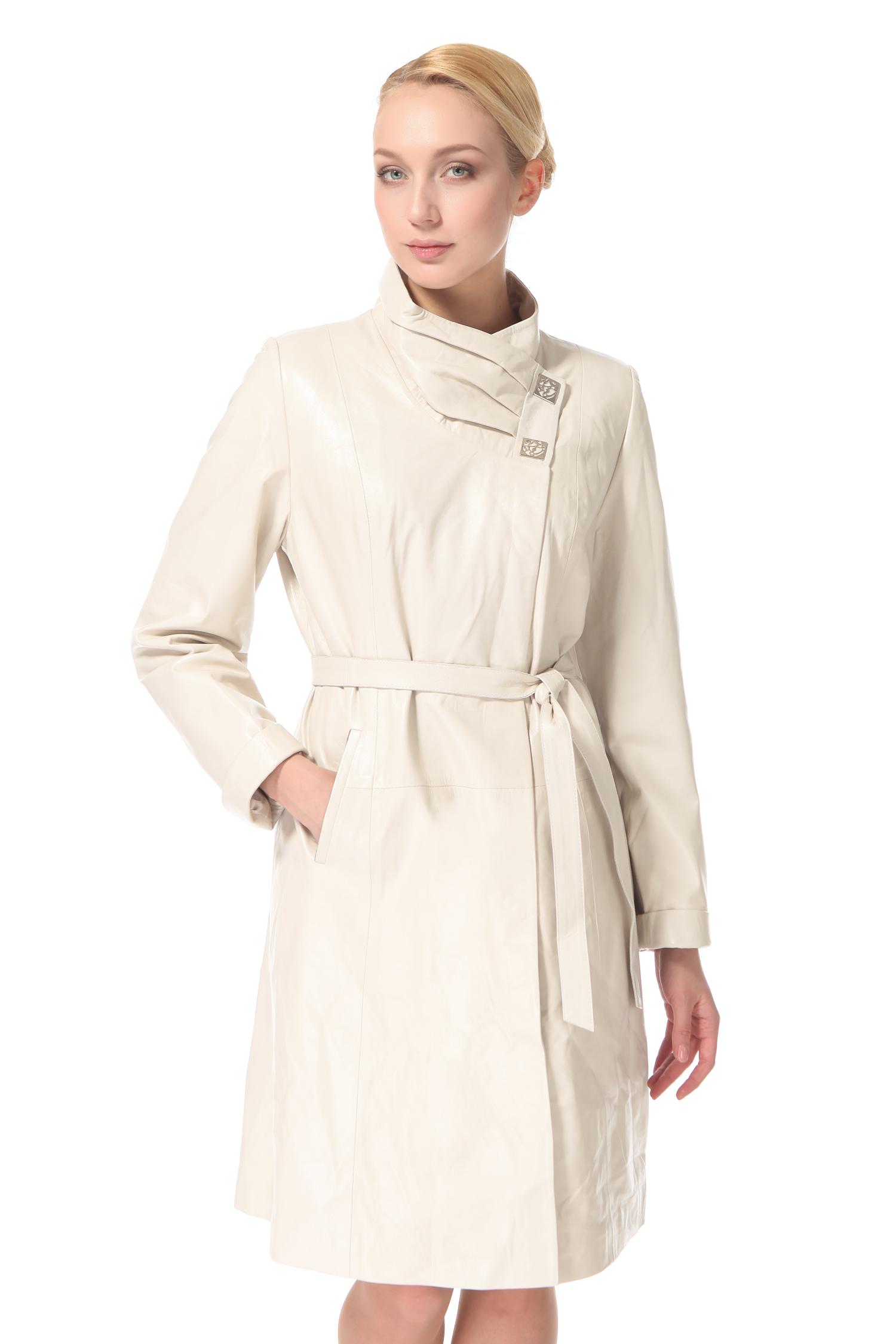 Женское кожаное пальто из натуральной кожи с воротником, без отделки<br><br>Воротник: Стойка<br>Длина см: 100<br>Материал: Натуральная кожа<br>Цвет: Бежевый<br>Пол: Женский