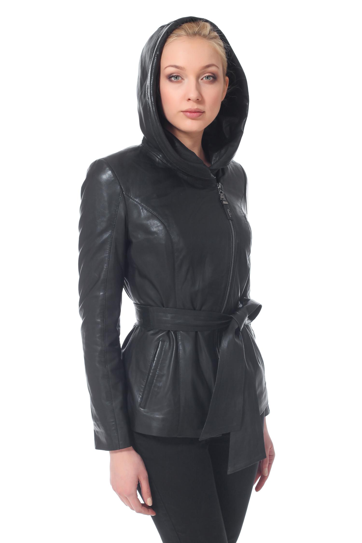 Женская кожаная куртка из натуральной кожи с капюшоном, без отделки<br><br>Воротник: Капюшон<br>Длина см: 70<br>Материал: Натуральная кожа<br>Цвет: Черный<br>Пол: Женский