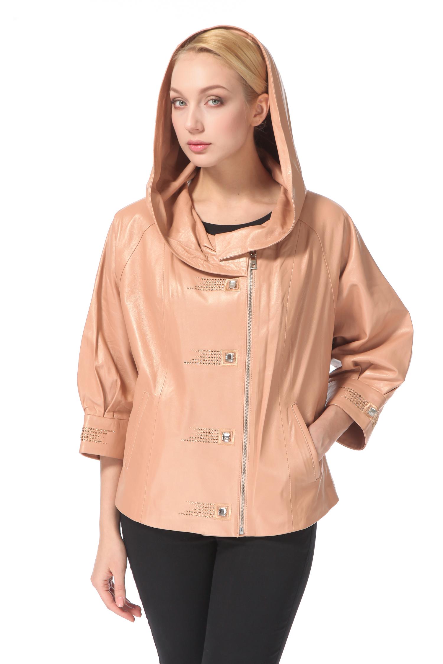 Женская кожаная куртка из натуральной кожи с капюшоном, без отделки<br><br>Воротник: Капюшон<br>Длина см: 65<br>Материал: Натуральная кожа<br>Цвет: Бежевый<br>Пол: Женский