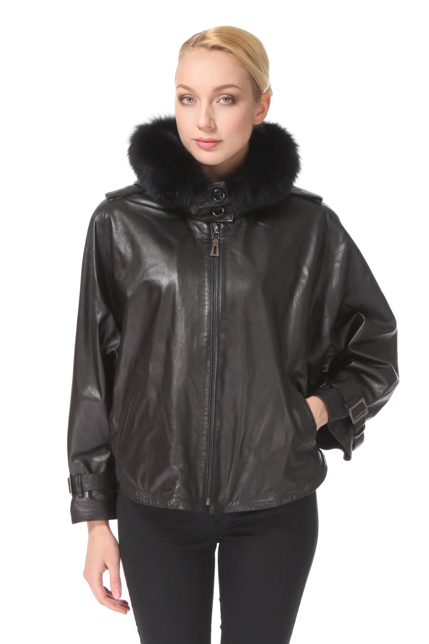 Женская кожаная куртка из натуральной кожи с капюшоном, отделка песец