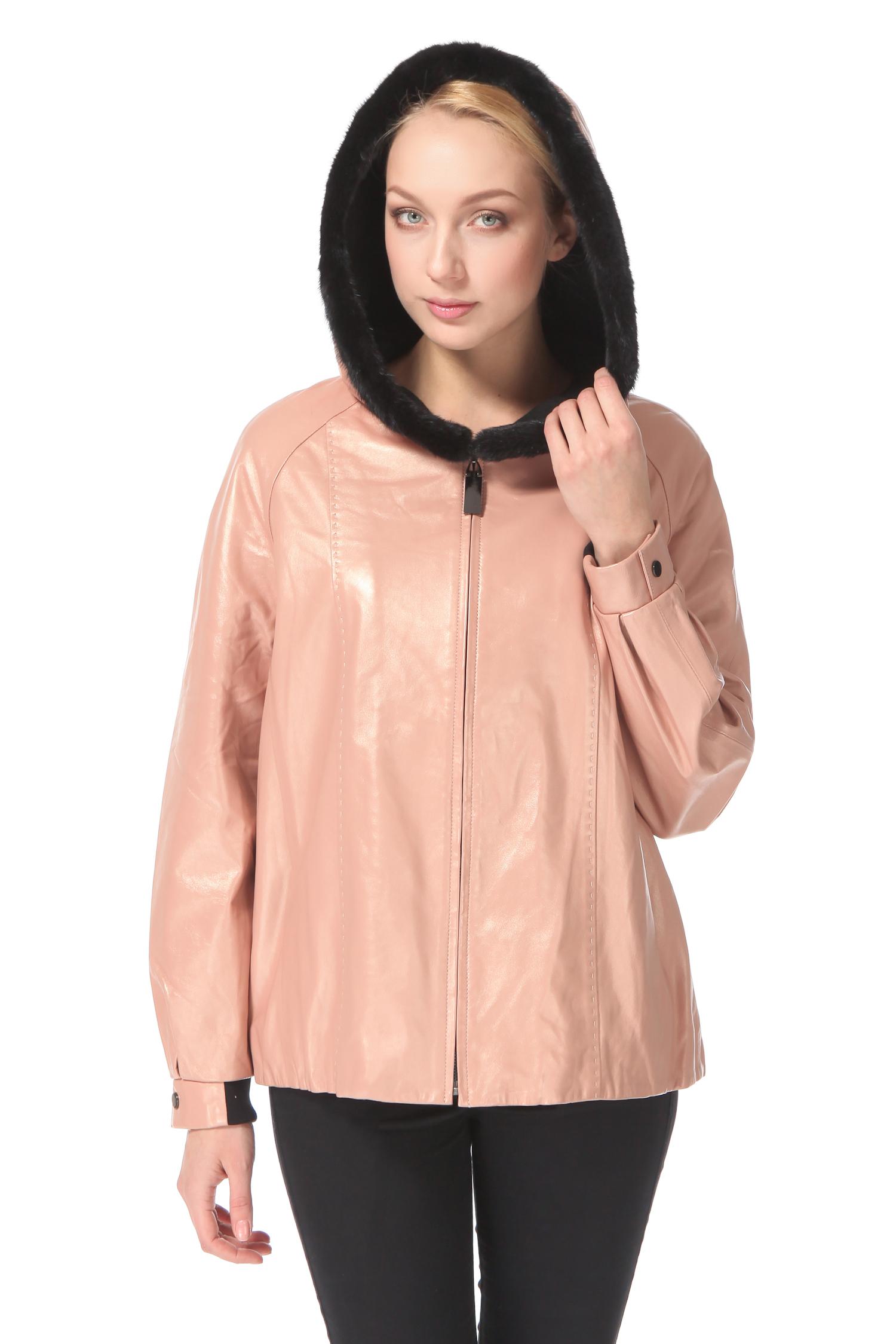 Женская кожаная куртка из натуральной кожи с капюшоном, отделка норка