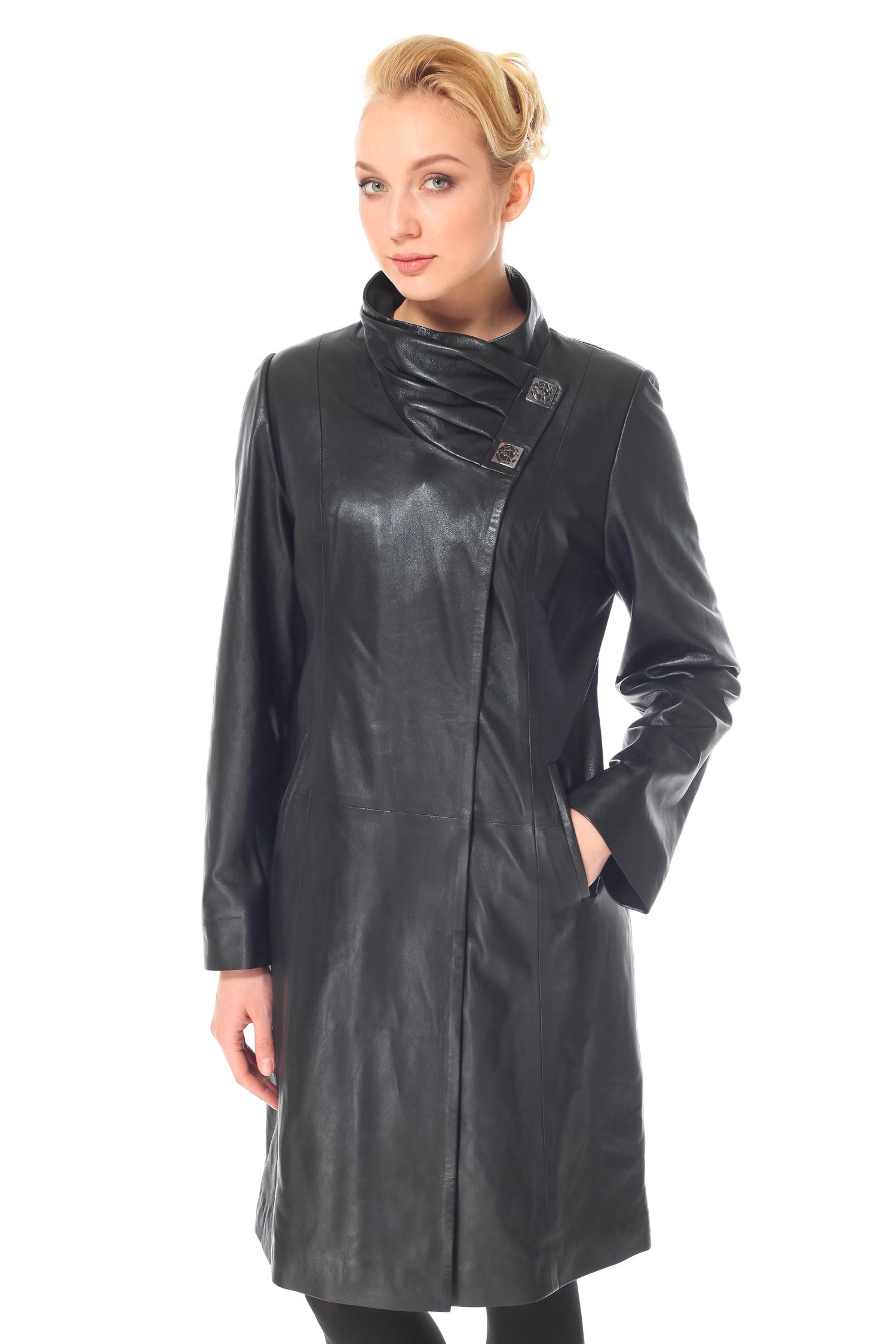 Женское кожаное пальто из натуральной кожи с воротником, без отделки<br><br>Воротник: Оригинальный<br>Длина см: 100<br>Материал: Натуральная кожа<br>Цвет: Черный<br>Пол: Женский