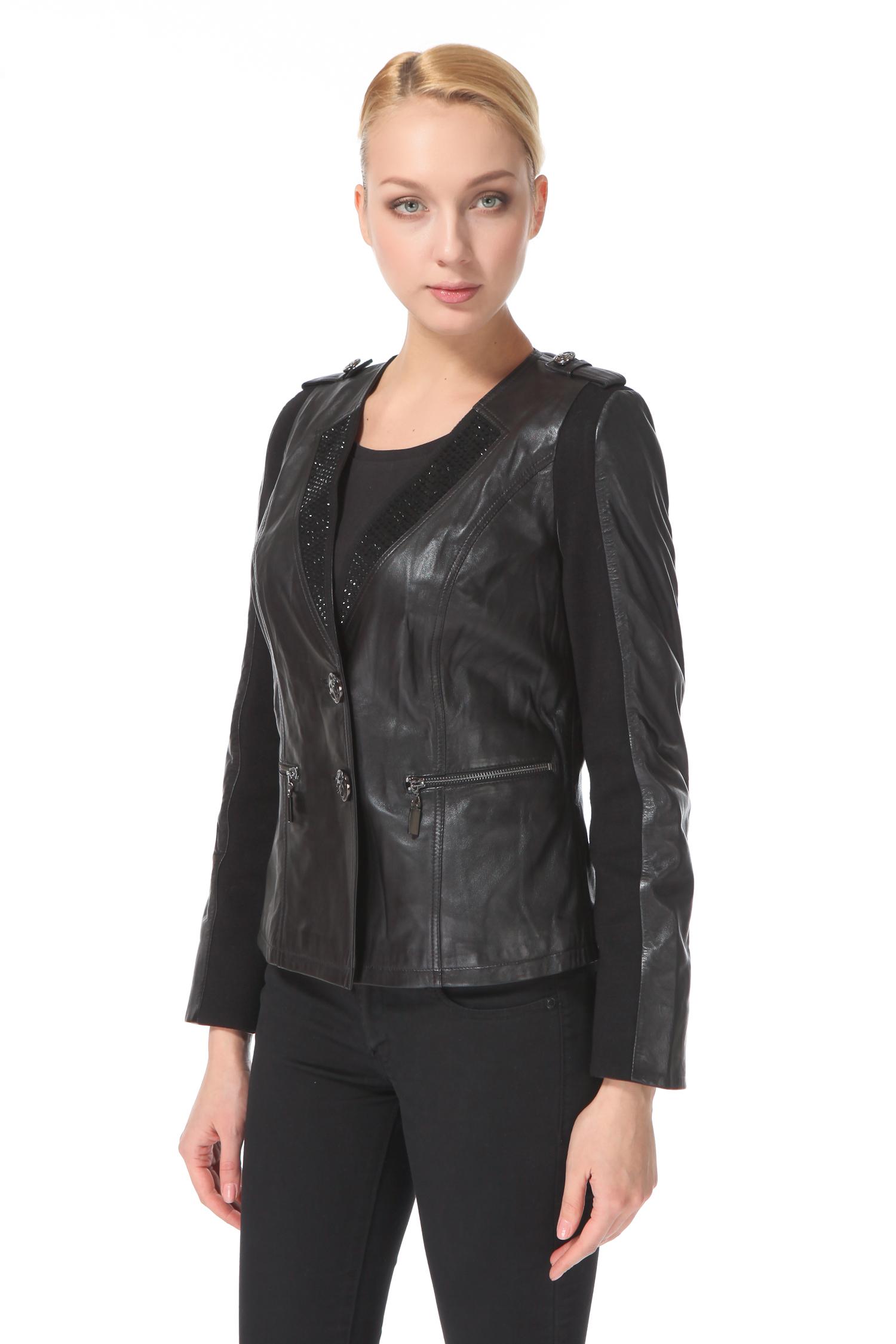 Женская кожаная куртка из натуральной кожи с воротником, без отделки<br><br>Воротник: Шаль<br>Длина см: 55<br>Материал: Натуральная кожа<br>Цвет: Черный<br>Пол: Женский