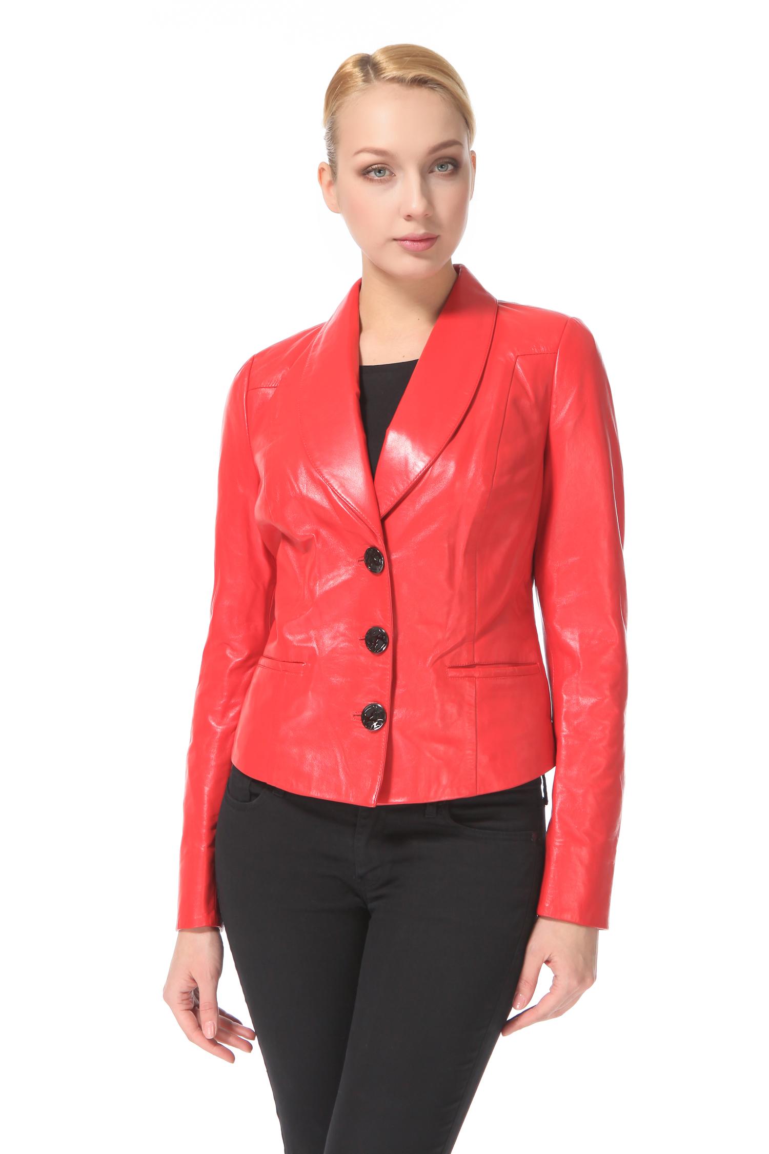 Женская кожаная куртка из натуральной кожи с воротником, без отделки<br><br>Воротник: Английский<br>Длина см: 50<br>Материал: Натуральная кожа<br>Цвет: Красный<br>Пол: Женский