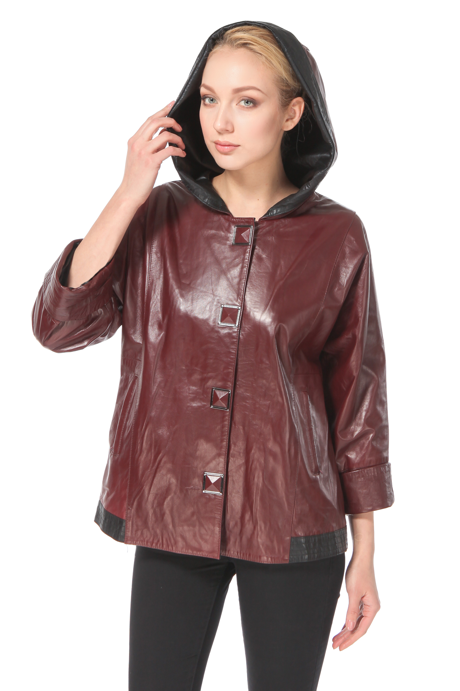 Женская кожаная куртка из натуральной кожи с капюшоном, без отделки<br><br>Воротник: Капюшон<br>Длина см: 65<br>Материал: Натуральная кожа<br>Цвет: Бордовый<br>Пол: Женский
