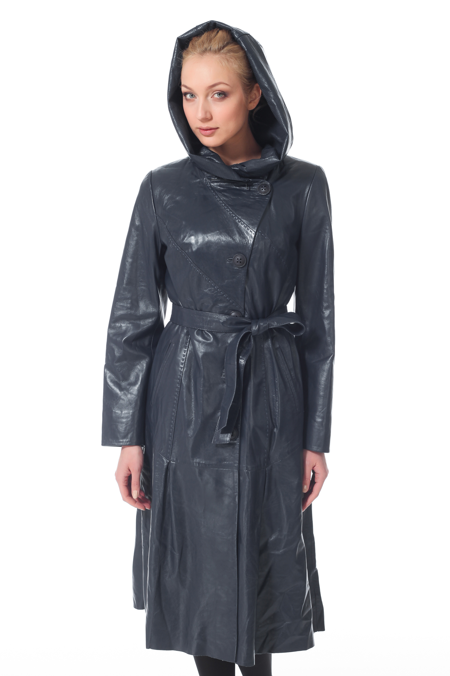 Женское кожаное пальто из натуральной кожи с капюшоном, без отделки<br><br>Воротник: Капюшон<br>Длина см: 105<br>Материал: Натуральная кожа<br>Цвет: Синий<br>Пол: Женский