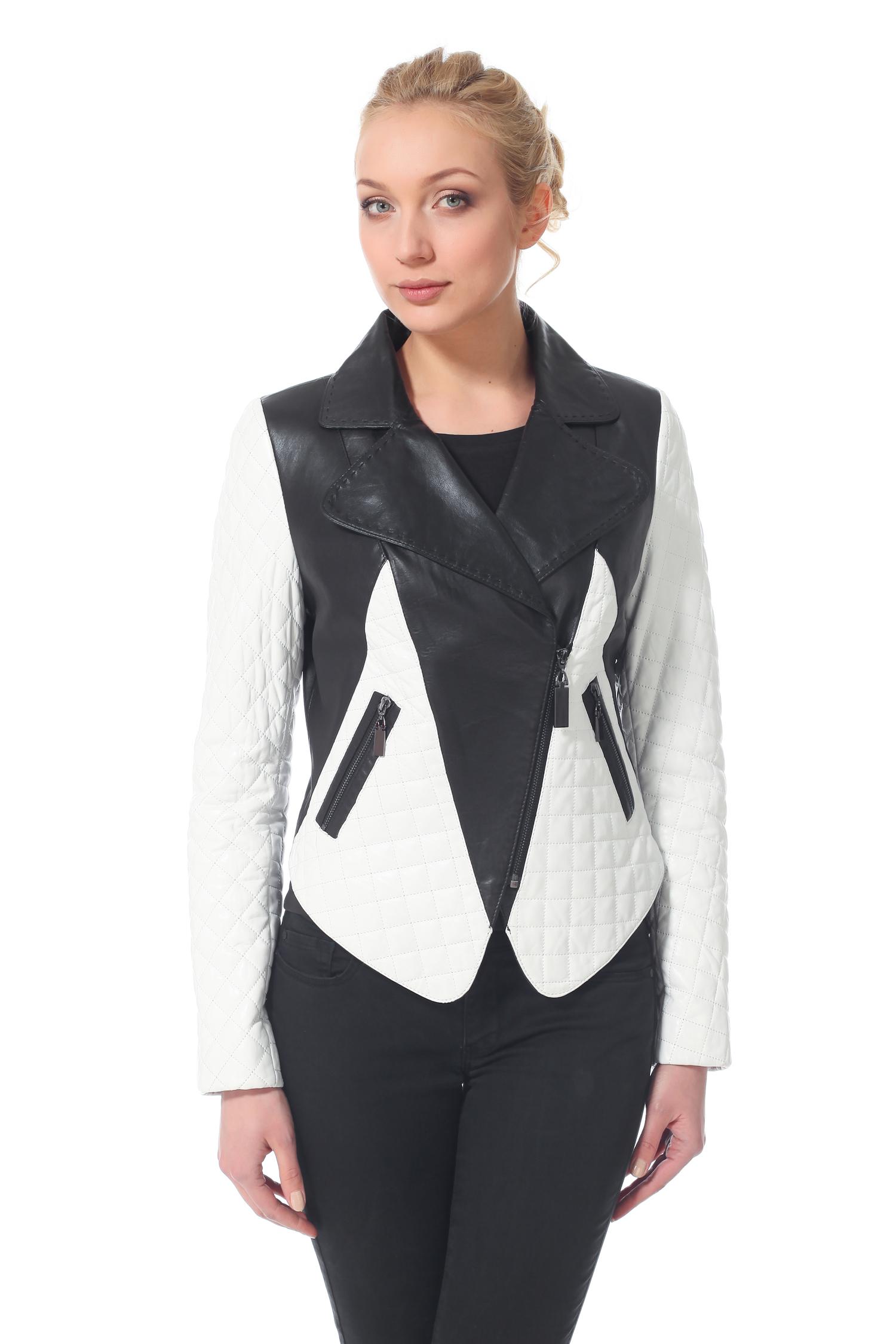 Женская кожаная куртка из натуральной кожи с воротником, без отделки<br><br>Воротник: Английский<br>Длина см: 50<br>Материал: Натуральная кожа<br>Цвет: Черный/белый<br>Пол: Женский
