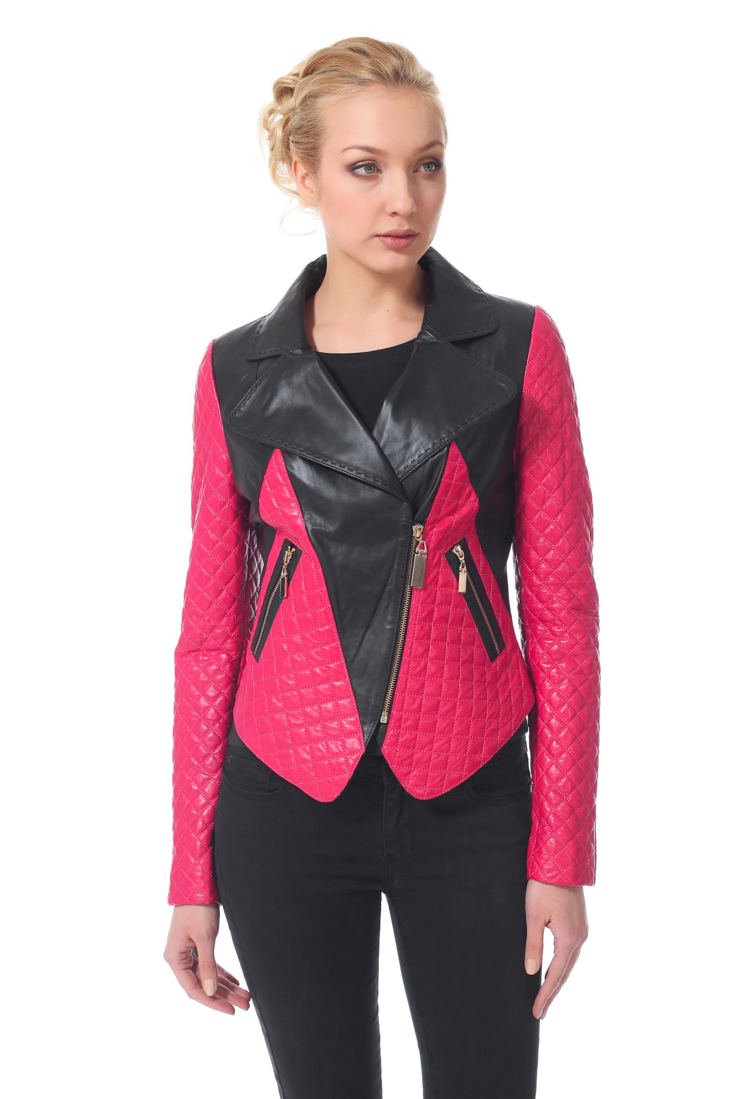 Женская кожаная куртка из натуральной кожи с воротником, без отделки<br><br>Воротник: Английский<br>Длина см: 50<br>Материал: Натуральная кожа<br>Цвет: Черный/розовый<br>Пол: Женский