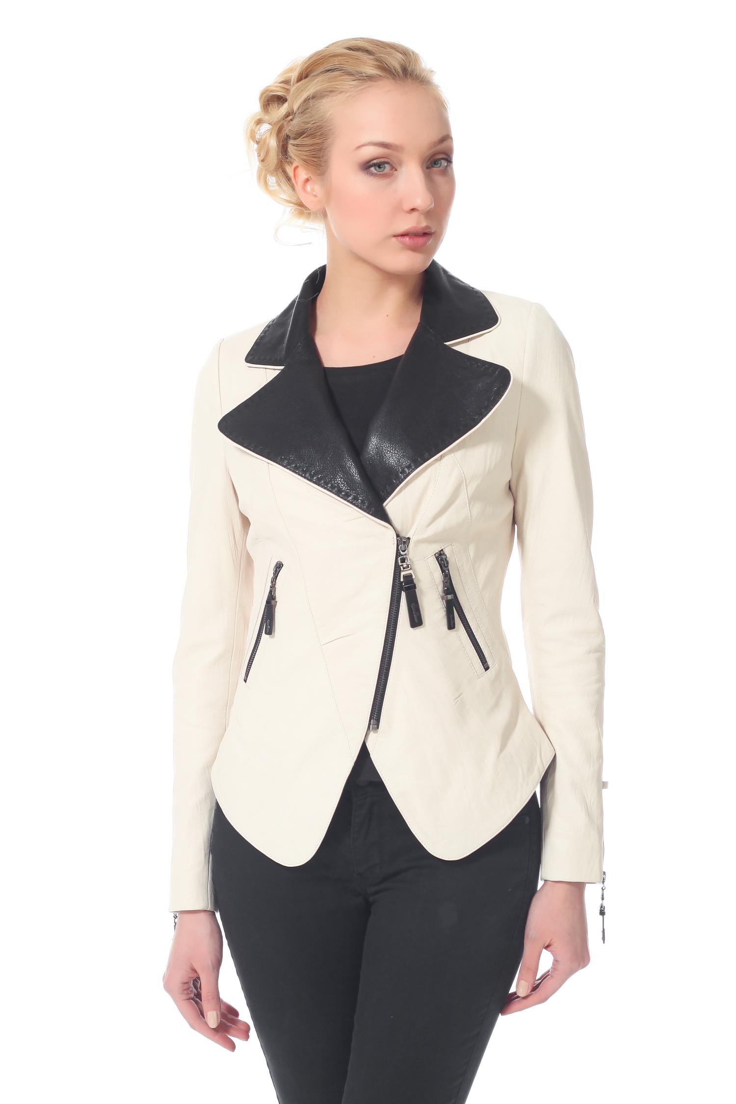 Женская кожаная куртка из натуральной кожи с воротником, без отделки<br><br>Воротник: Английский<br>Длина см: 50<br>Материал: Натуральная кожа<br>Цвет: Бежевый<br>Пол: Женский