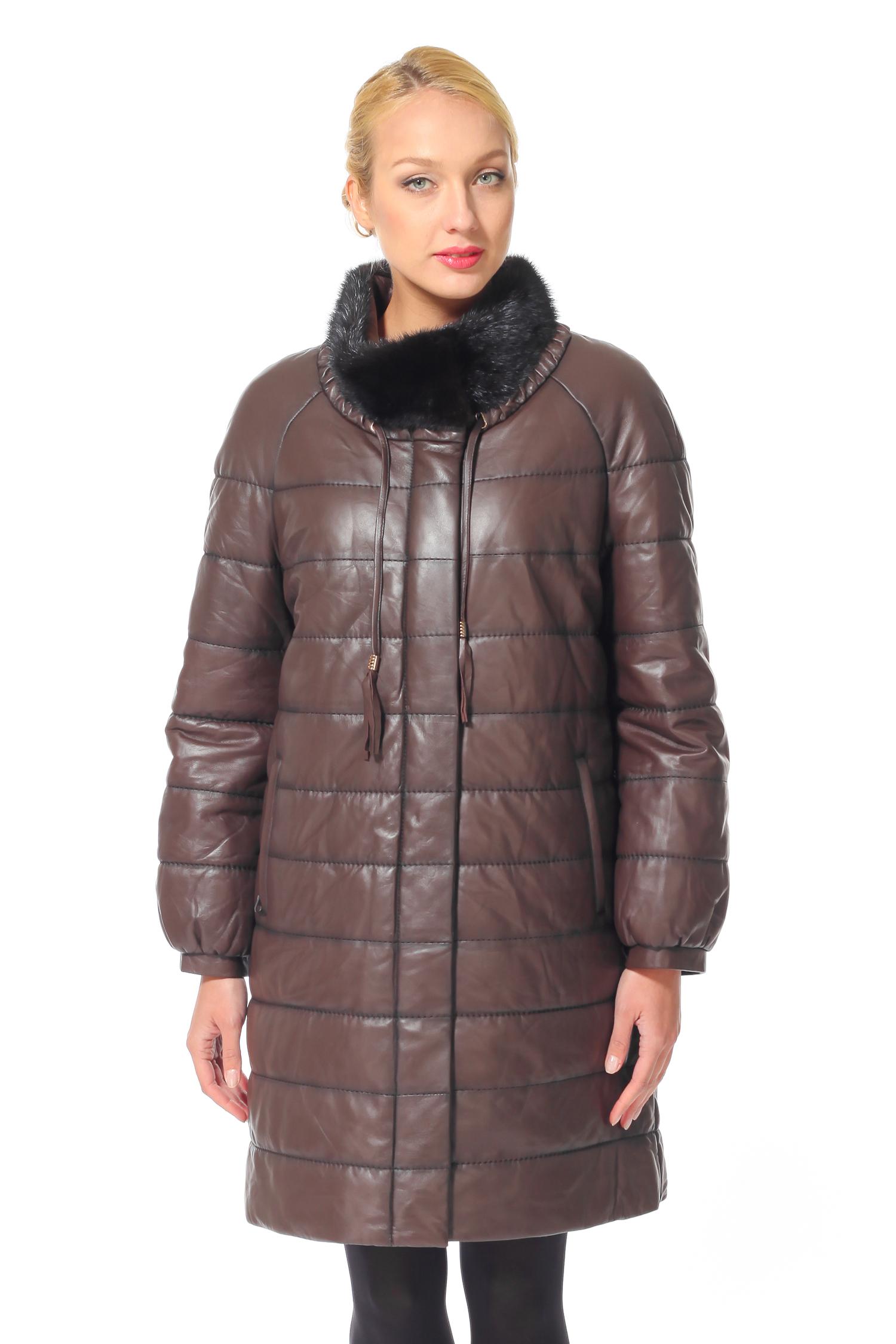 Женское кожаное пальто из натуральной кожи с воротником, отделка норка<br><br>Воротник: стойка<br>Длина см: Длинная (свыше 90)<br>Материал: Кожа овчина<br>Цвет: коричневый<br>Пол: Женский<br>Размер RU: 56