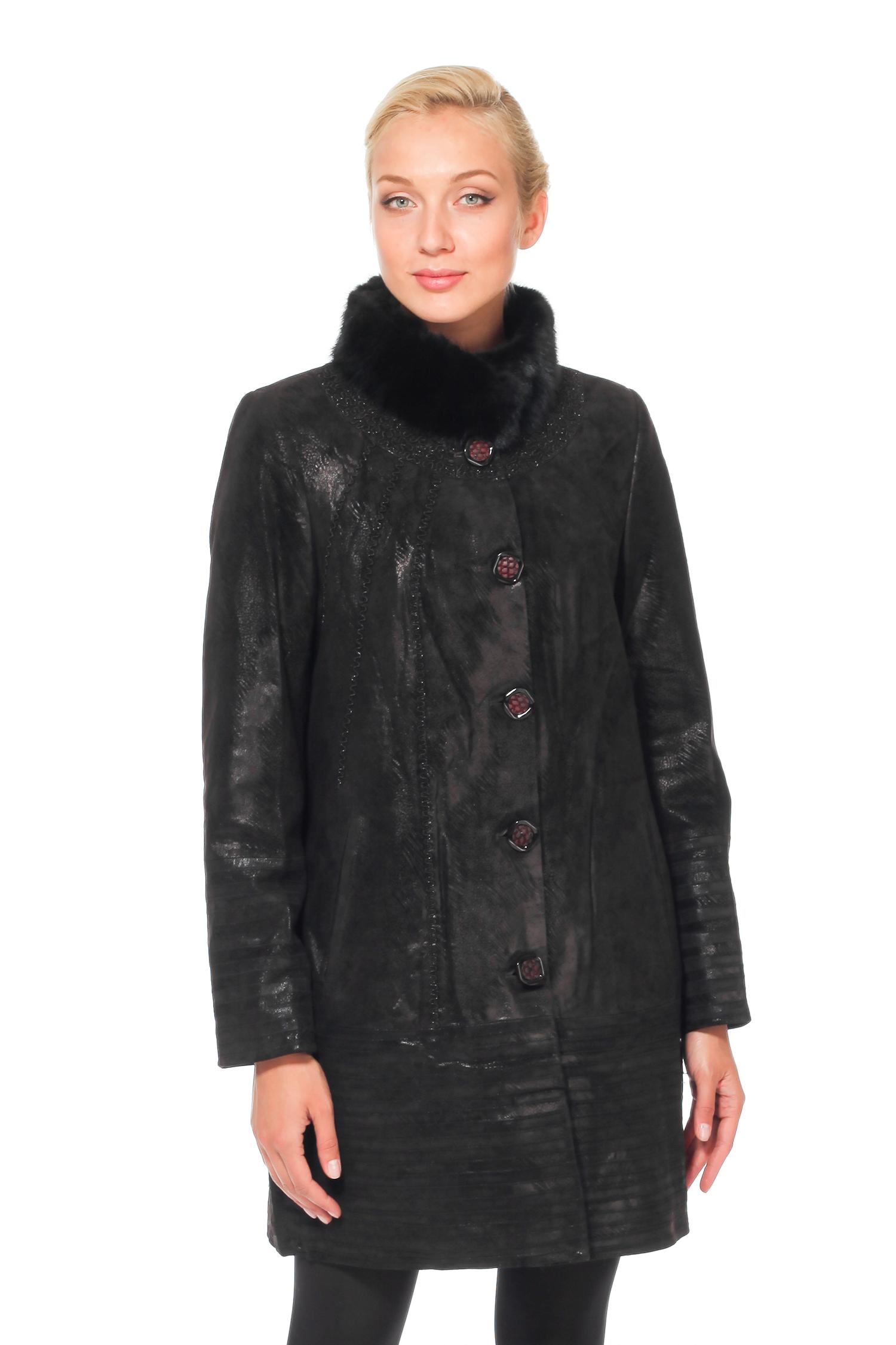 Женское кожаное пальто из натуральной замши с воротником, отделка норка<br><br>Воротник: стойка<br>Длина см: Длинная (свыше 90)<br>Материал: Замша<br>Цвет: коричневый<br>Пол: Женский<br>Размер RU: 64