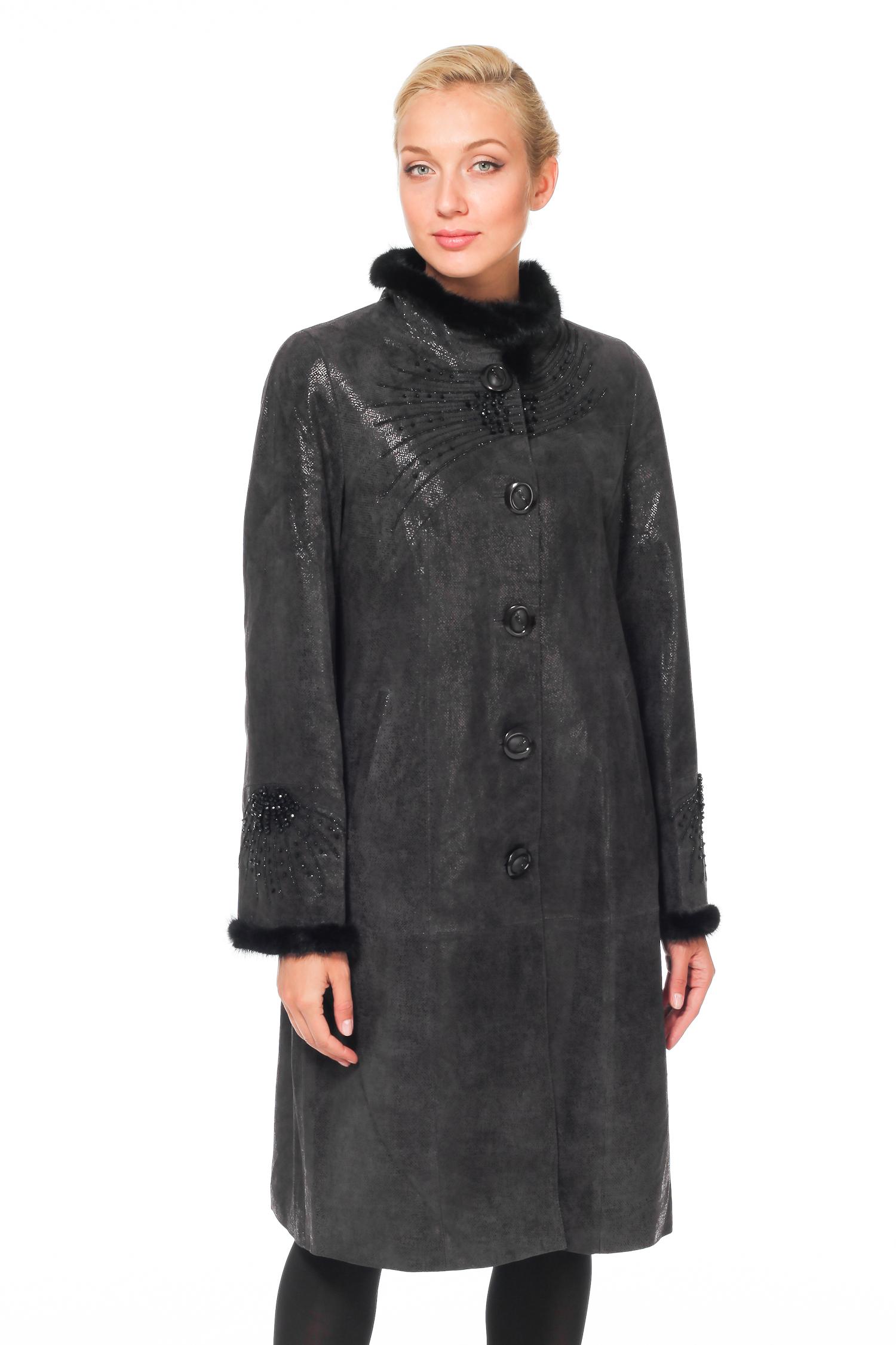 Женское кожаное пальто из натуральной замши с воротником, отделка норка
