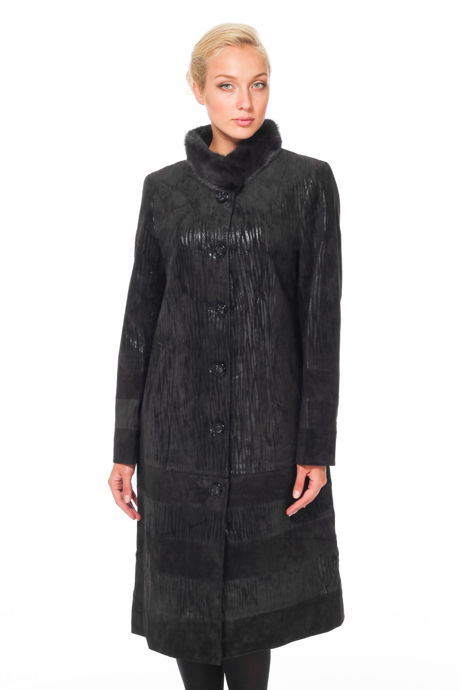 Женское кожаное пальто из натуральной замши с воротником, отделка норка<br><br>Воротник: стойка<br>Цвет: серый<br>Материал: Замша<br>Длина см: Длинная (свыше 90)<br>Пол: Женский<br>Размер RU: 46