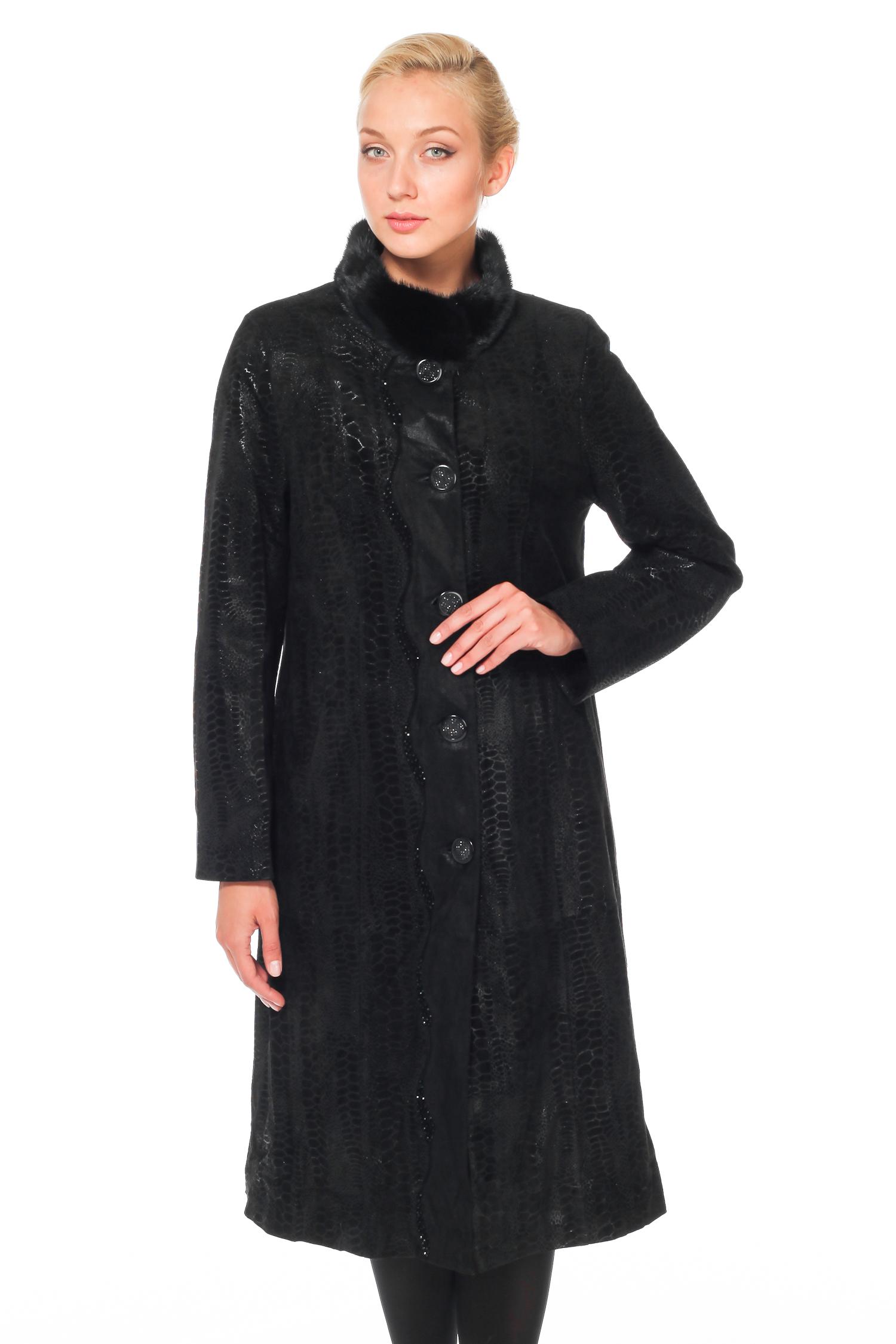 Женское кожаное пальто из натуральной замши с воротником, отделка норка<br><br>Воротник: стойка<br>Длина см: Длинная (свыше 90)<br>Материал: Замша<br>Цвет: черный<br>Пол: Женский<br>Размер RU: 48