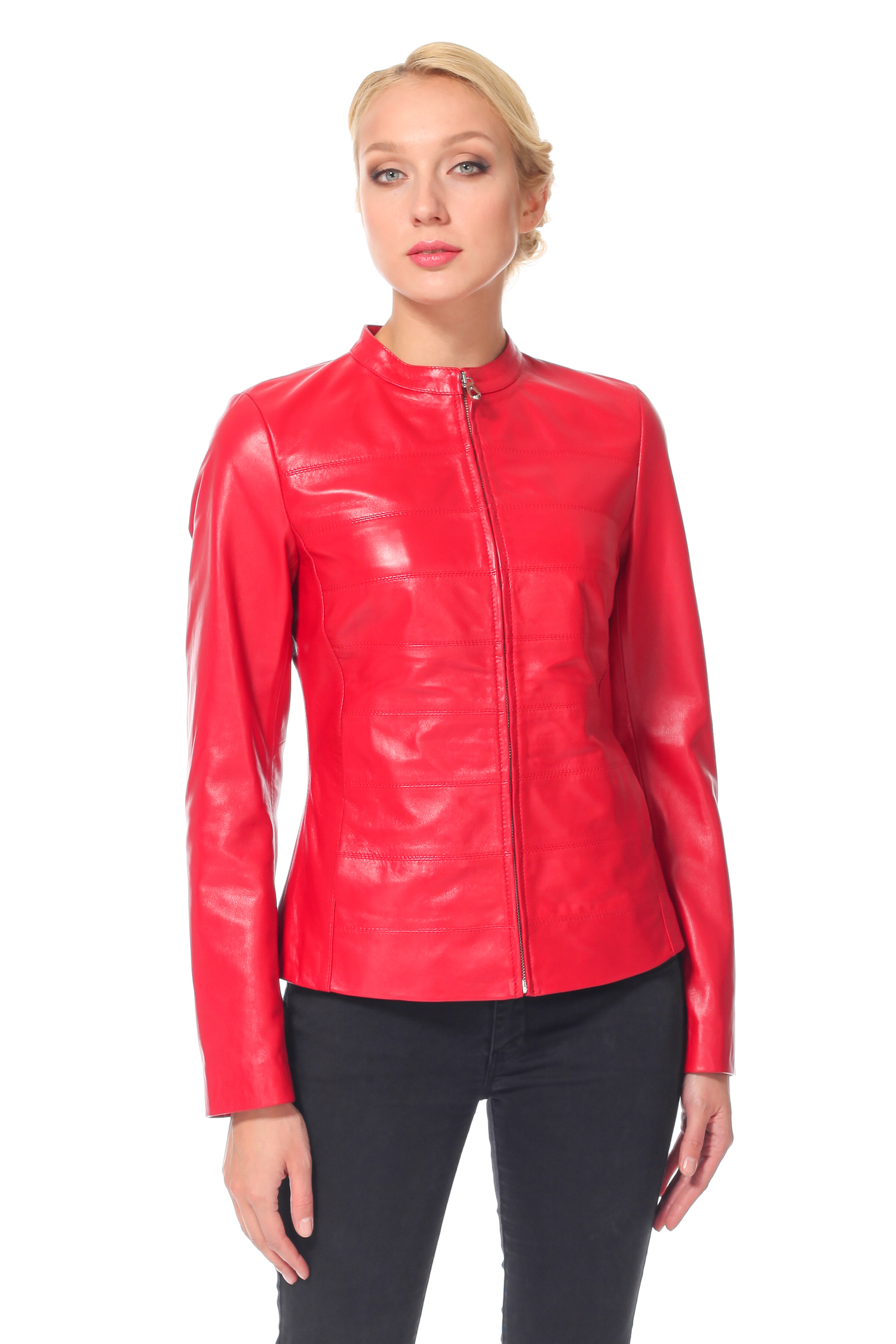 Женская кожаная куртка из натуральной кожи с воротником, без отделкиЦвет - алый.<br><br>Модель изготовлена из высококачественной кожи.<br><br>Яркая кожаная куртка для яркой девушки! Приталенный силуэт в сочетании с оригинальным воротником шанель задают безупречный стиль этому изделию. Для удобства застежка выполнена на молнию, которая аккуратно спрятана. Безупречный крой, идеально выверенные лекала и высокое качество пошива - и это далеко не все преимущества изделия! Благодаря этому Вам обеспечена хорошая посадка и особенный комфорт. Эта кожаная куртка станет яркой основой Вашего стиля!<br><br>Воротник: Стойка<br>Длина см: 55<br>Материал: Кожа<br>Цвет: Красный<br>Пол: Женский
