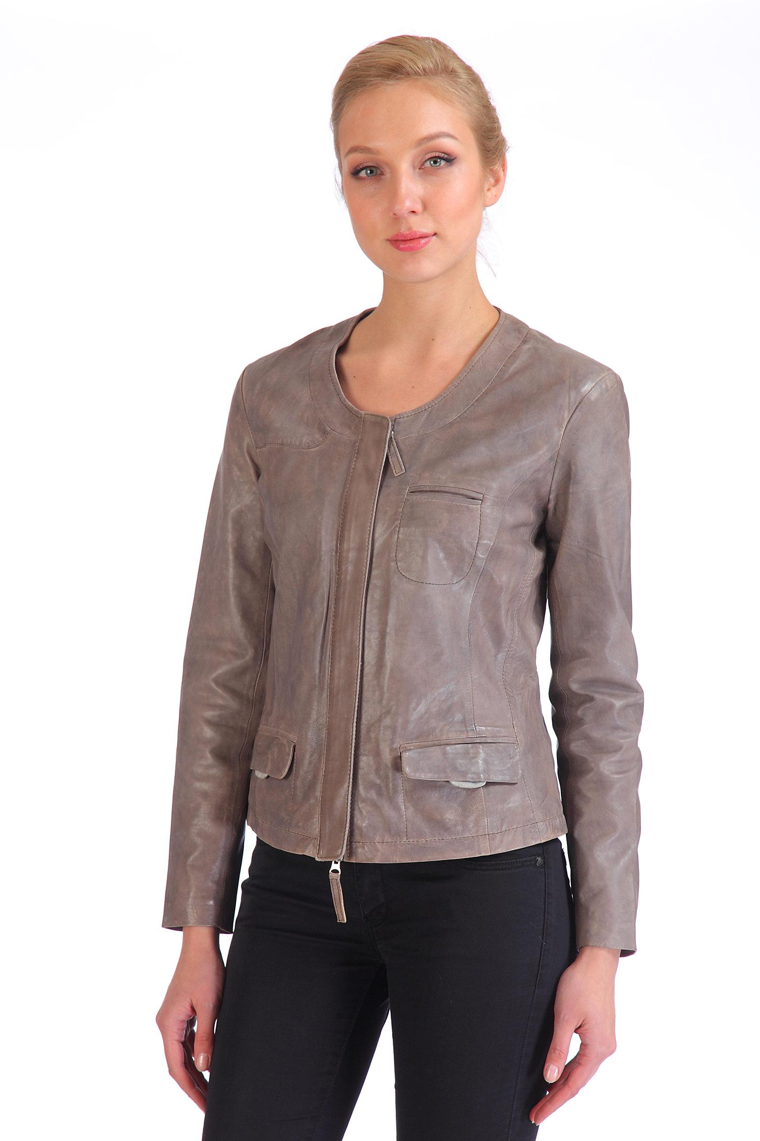 Женская кожаная куртка из натуральной кожи, без отделки. Производитель: Московская Меховая Компания, артикул: 6448